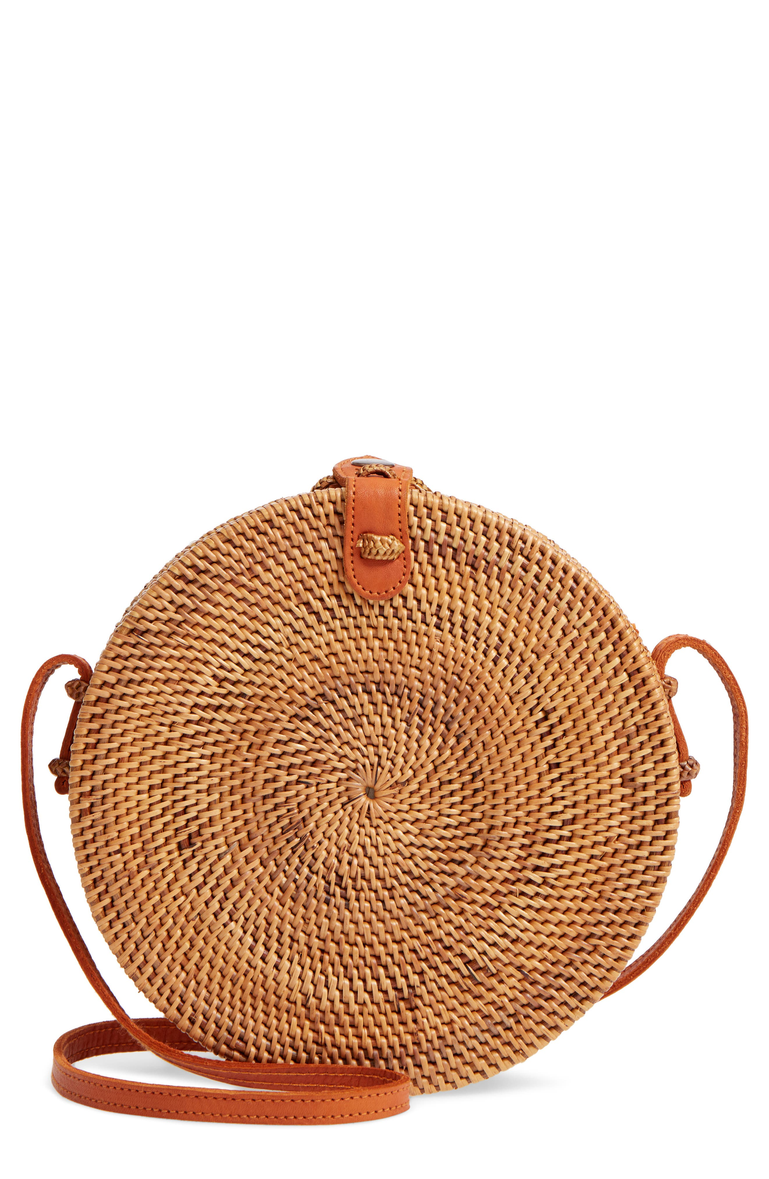 Woven Rattan Circle Basket Crossbody by Street Level