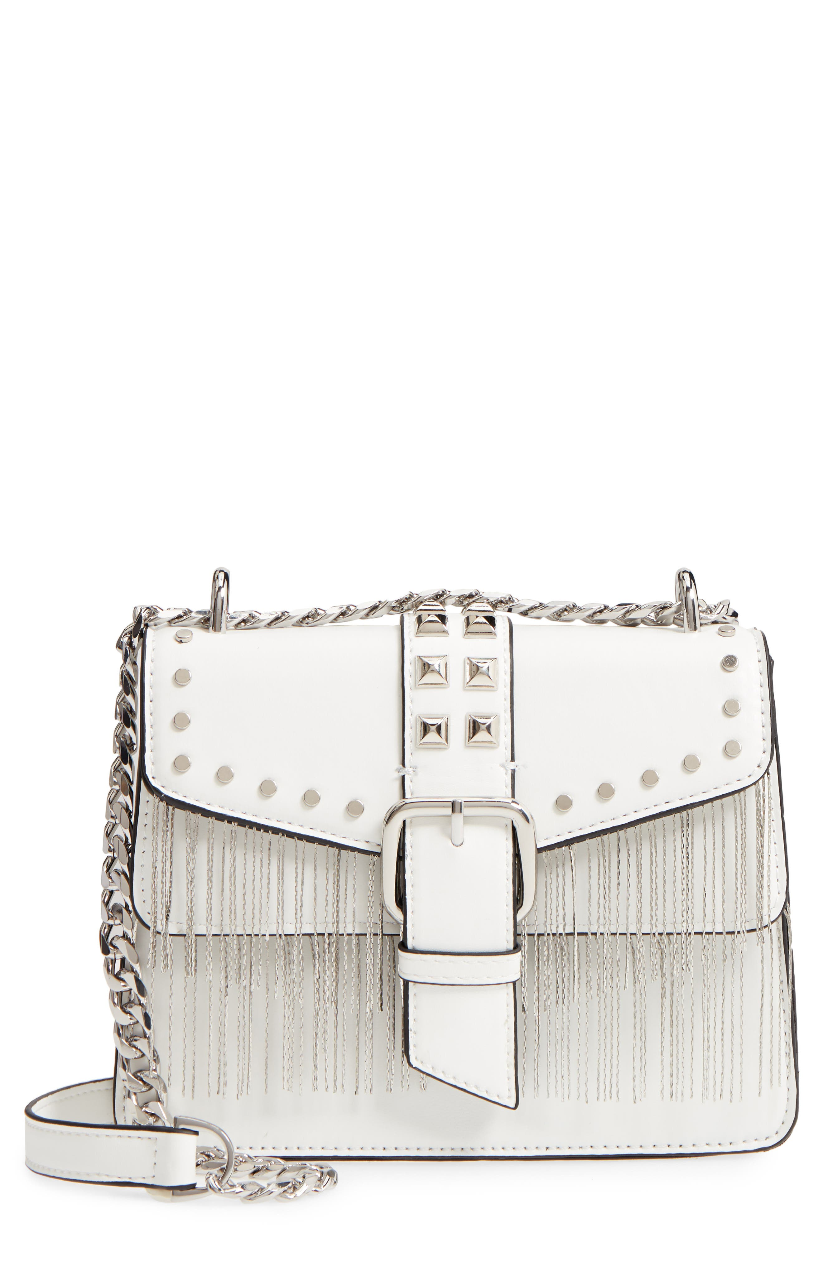 Shelby Studded Faux Leather Crossbody Bag,                         Main,                         color, White
