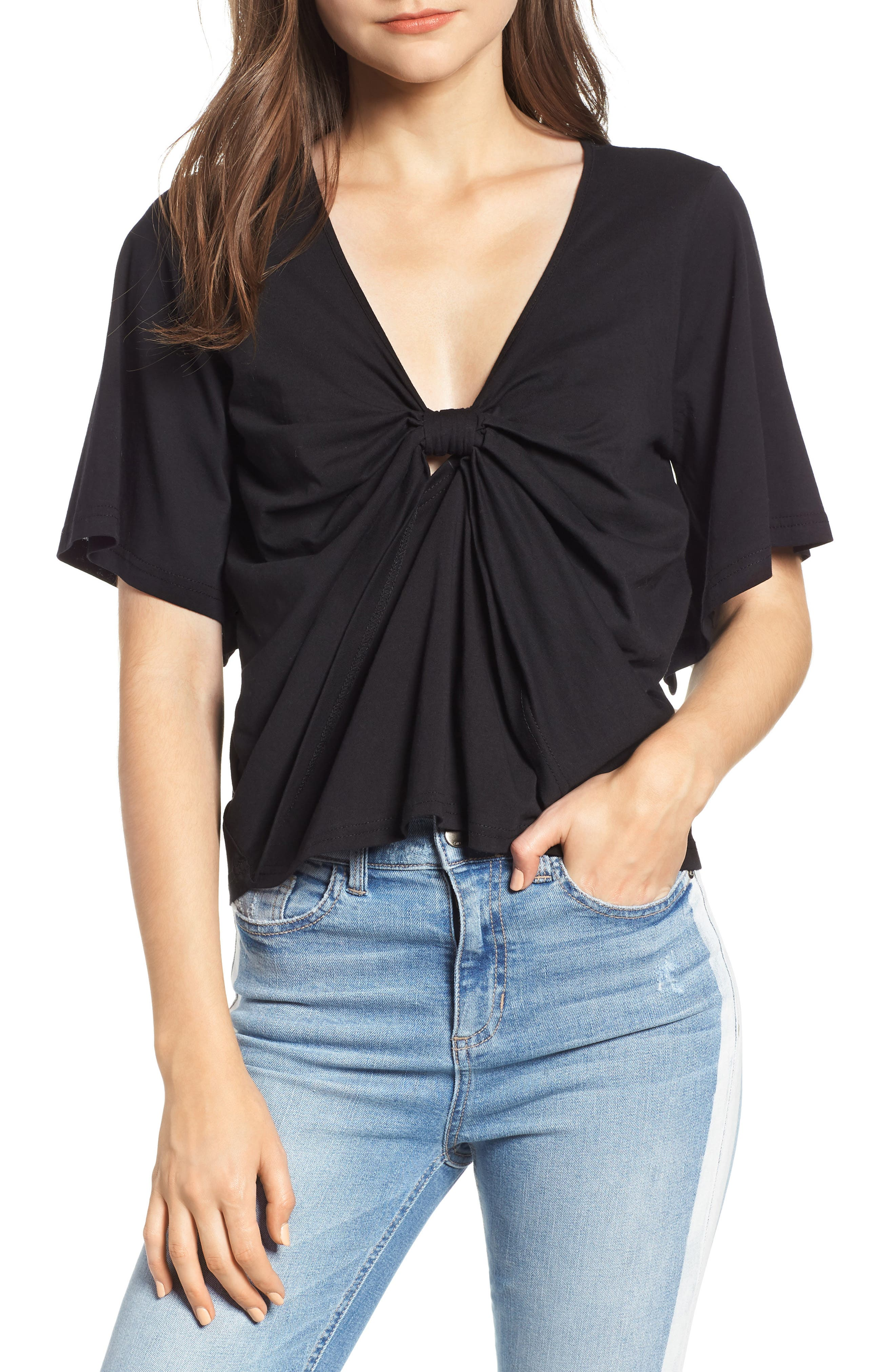 Knot Front Flutter Sleeve Tee,                             Main thumbnail 1, color,                             Black