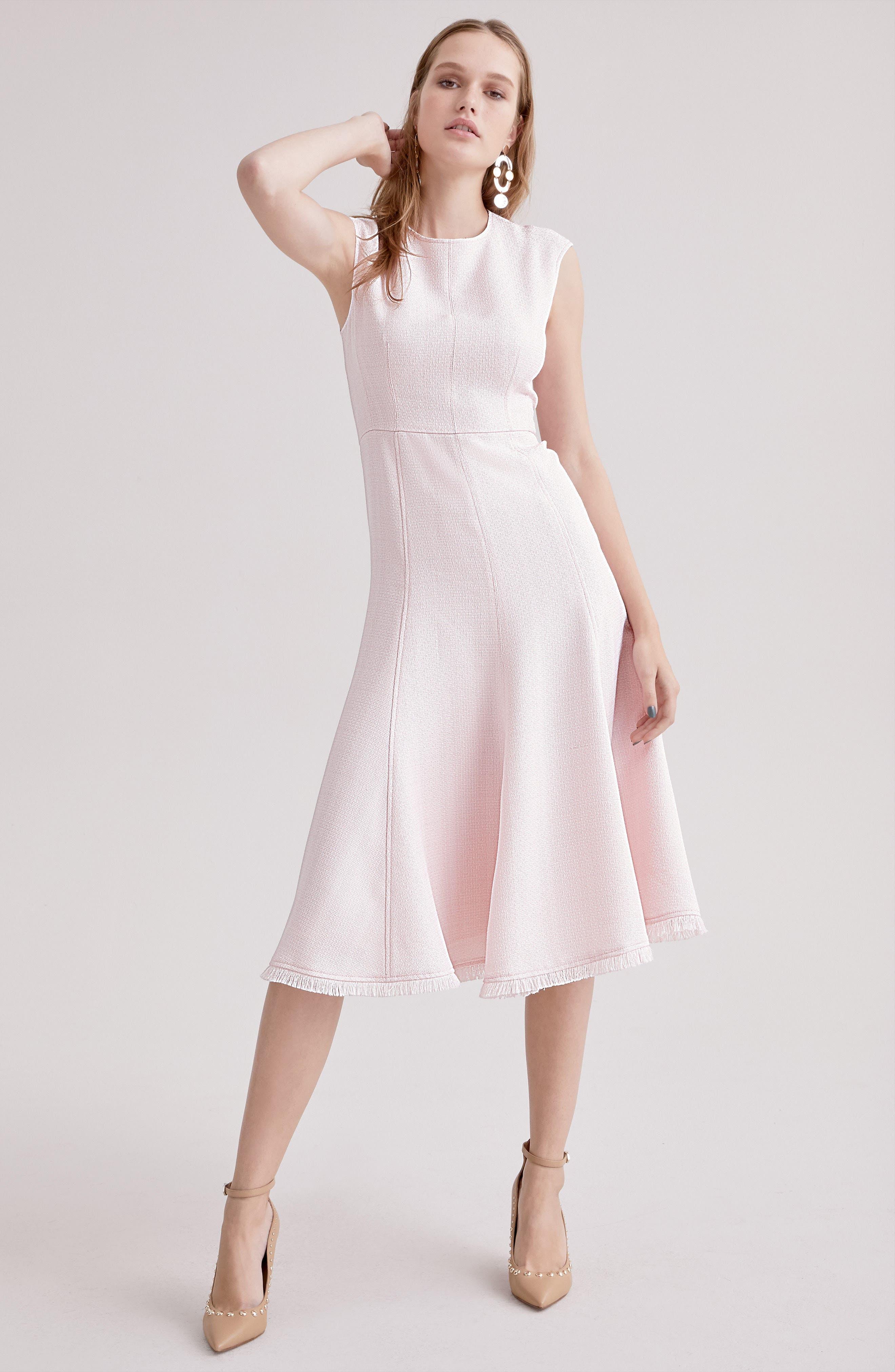 Fringe Hem A-Line Dress,                             Alternate thumbnail 8, color,