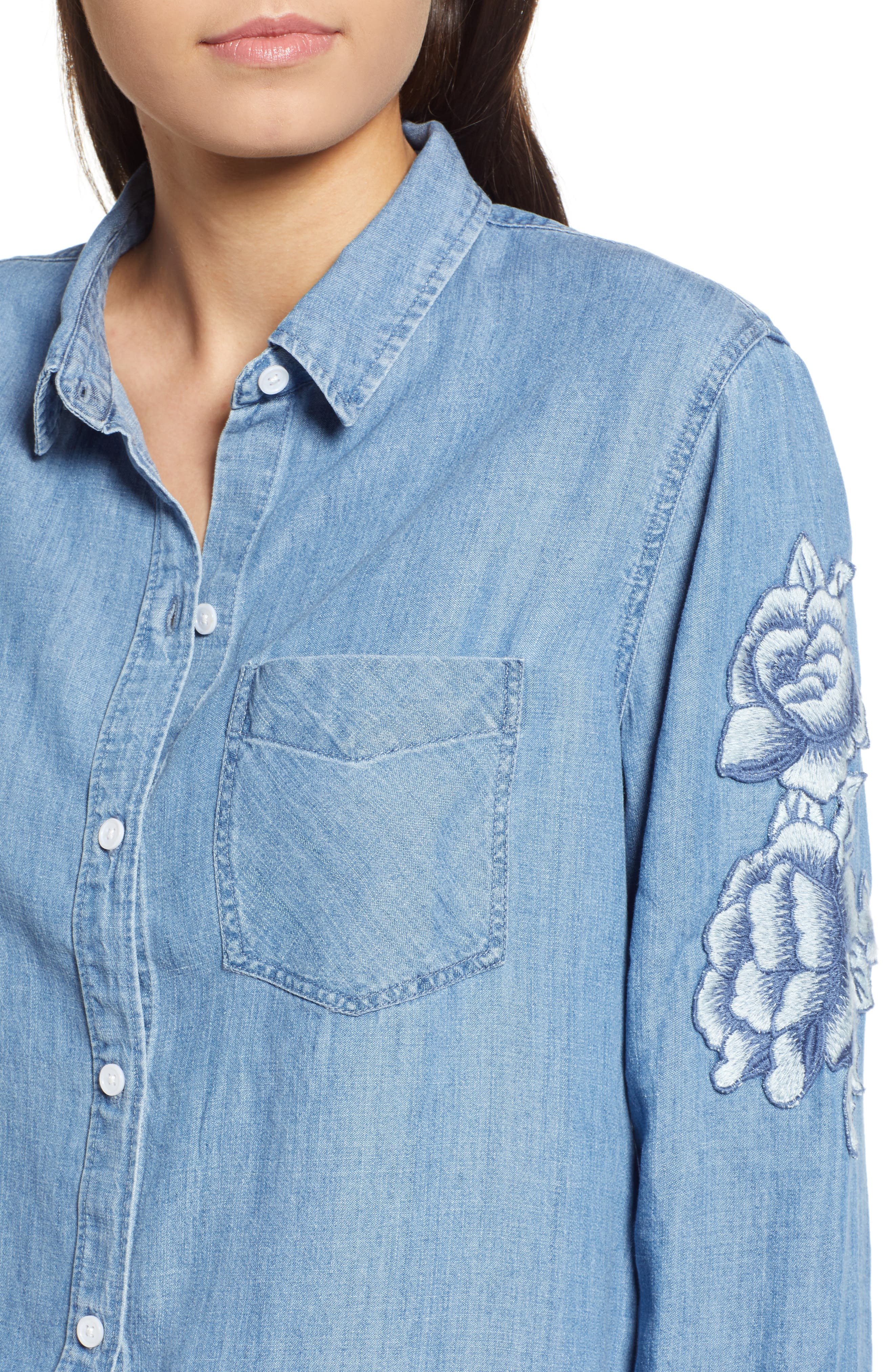 Ingrid Embroidered Chambray Shirt,                             Alternate thumbnail 4, color,                             Medium Vintage W/ White Floral