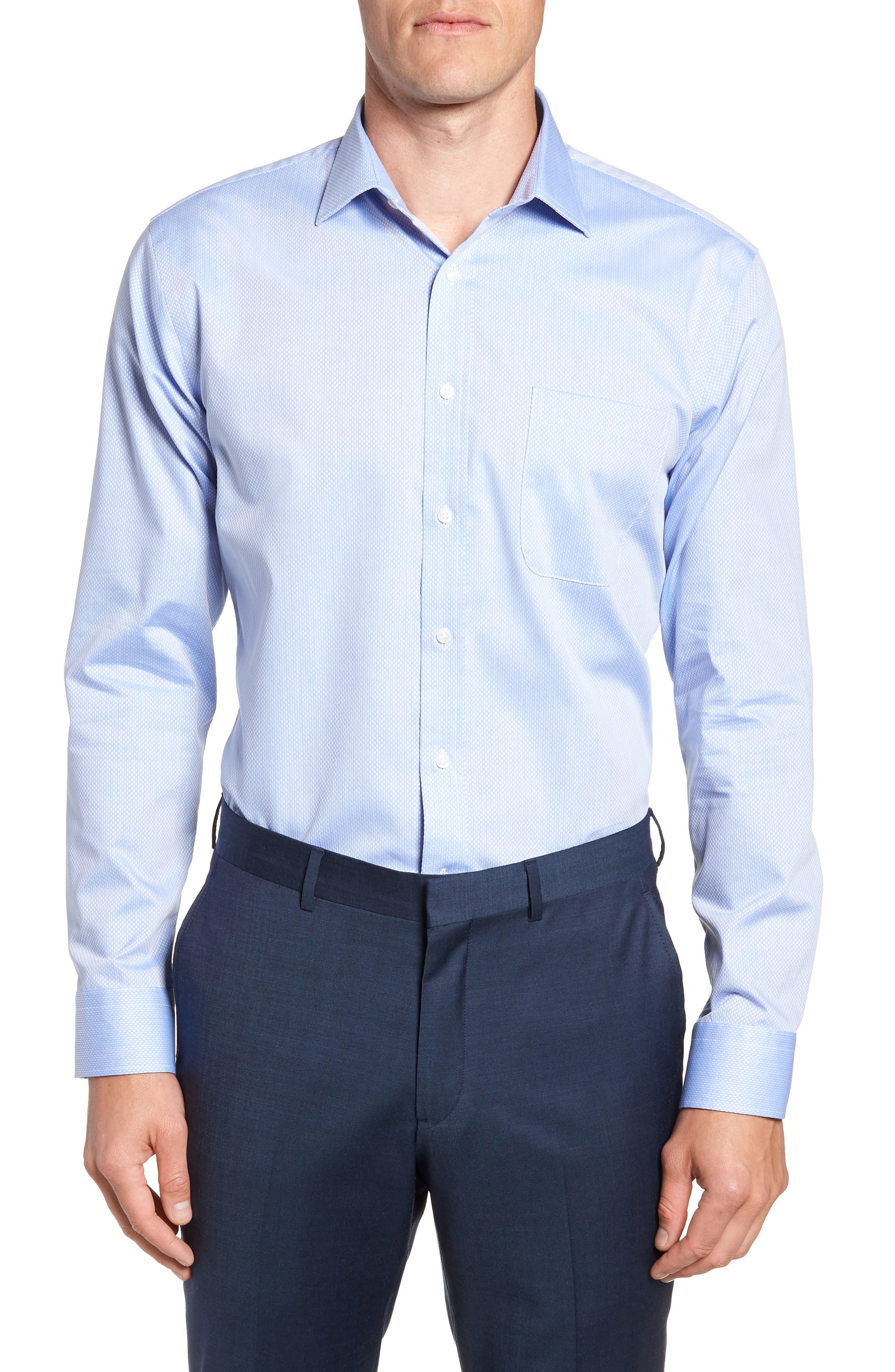 Trim Fit Solid Dress Shirt,                             Main thumbnail 1, color,                             Blue Azurite