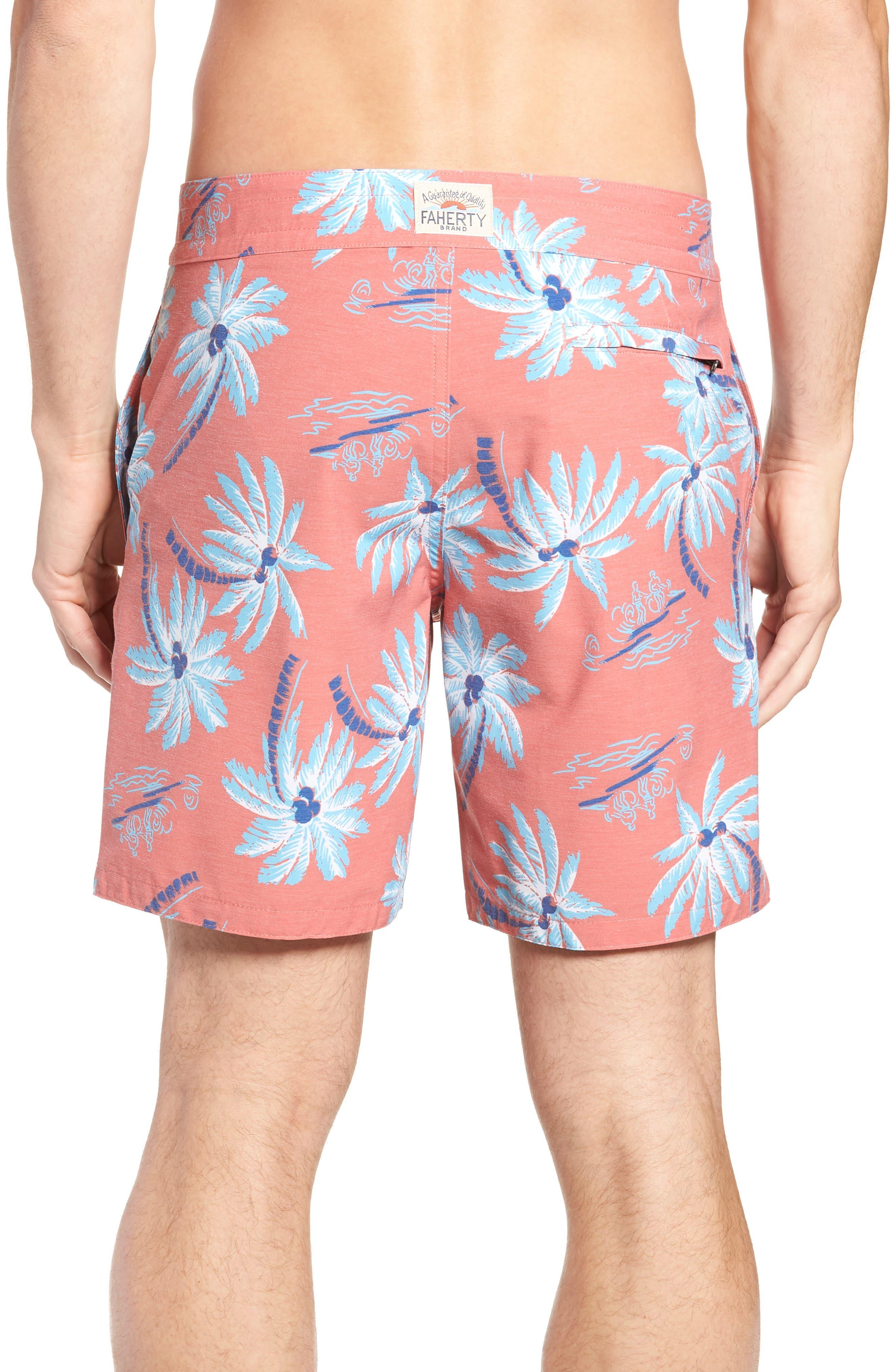 Classic Board Shorts,                             Alternate thumbnail 2, color,                             Red Palm Hawaiian