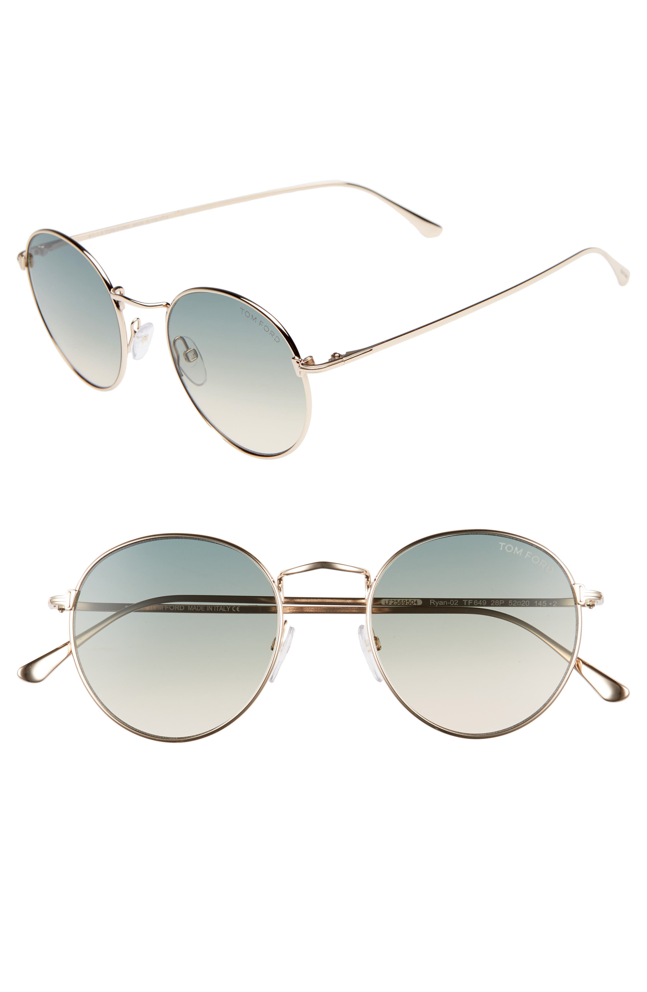 Ryan 52Mm Round Sunglasses - Yellow Gold in Rose Gold