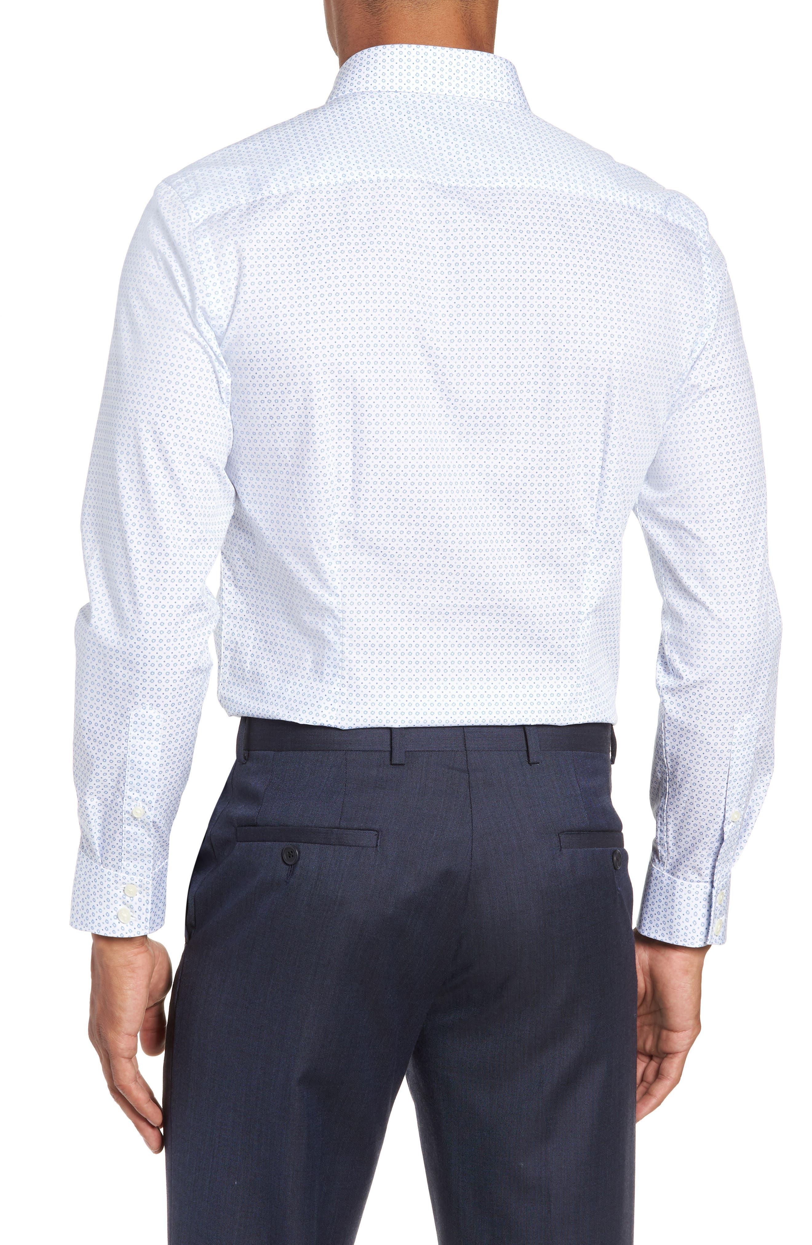Trim Fit Geometric Dress Shirt,                             Alternate thumbnail 3, color,                             Blue