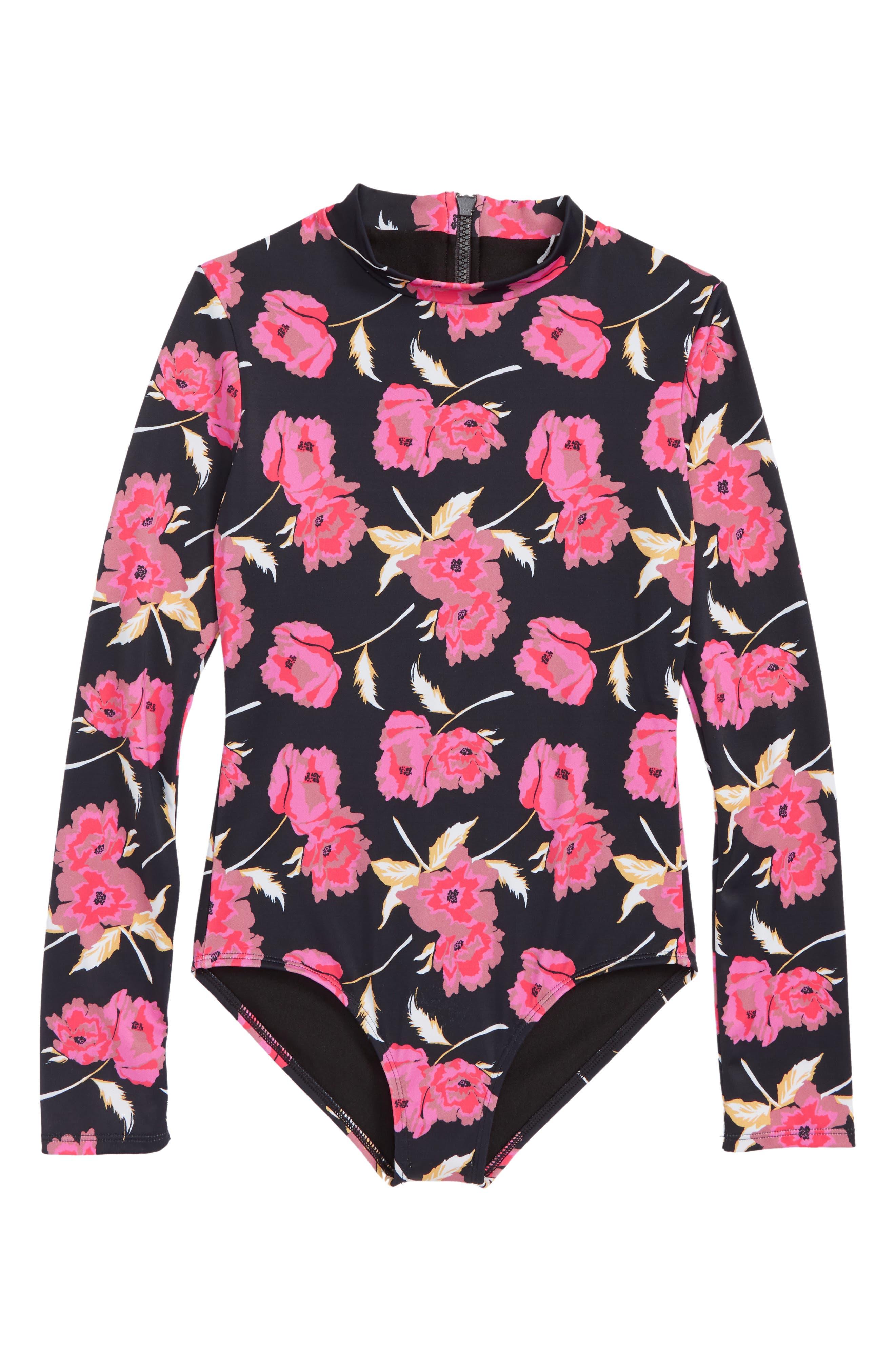 Floral Dawn One-Piece Rashguard Swimsuit,                         Main,                         color, Black Pebble