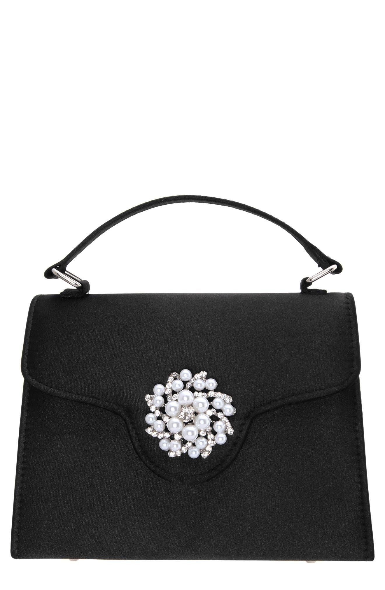 Imitation Pearl Ornament Lady Bag - Black