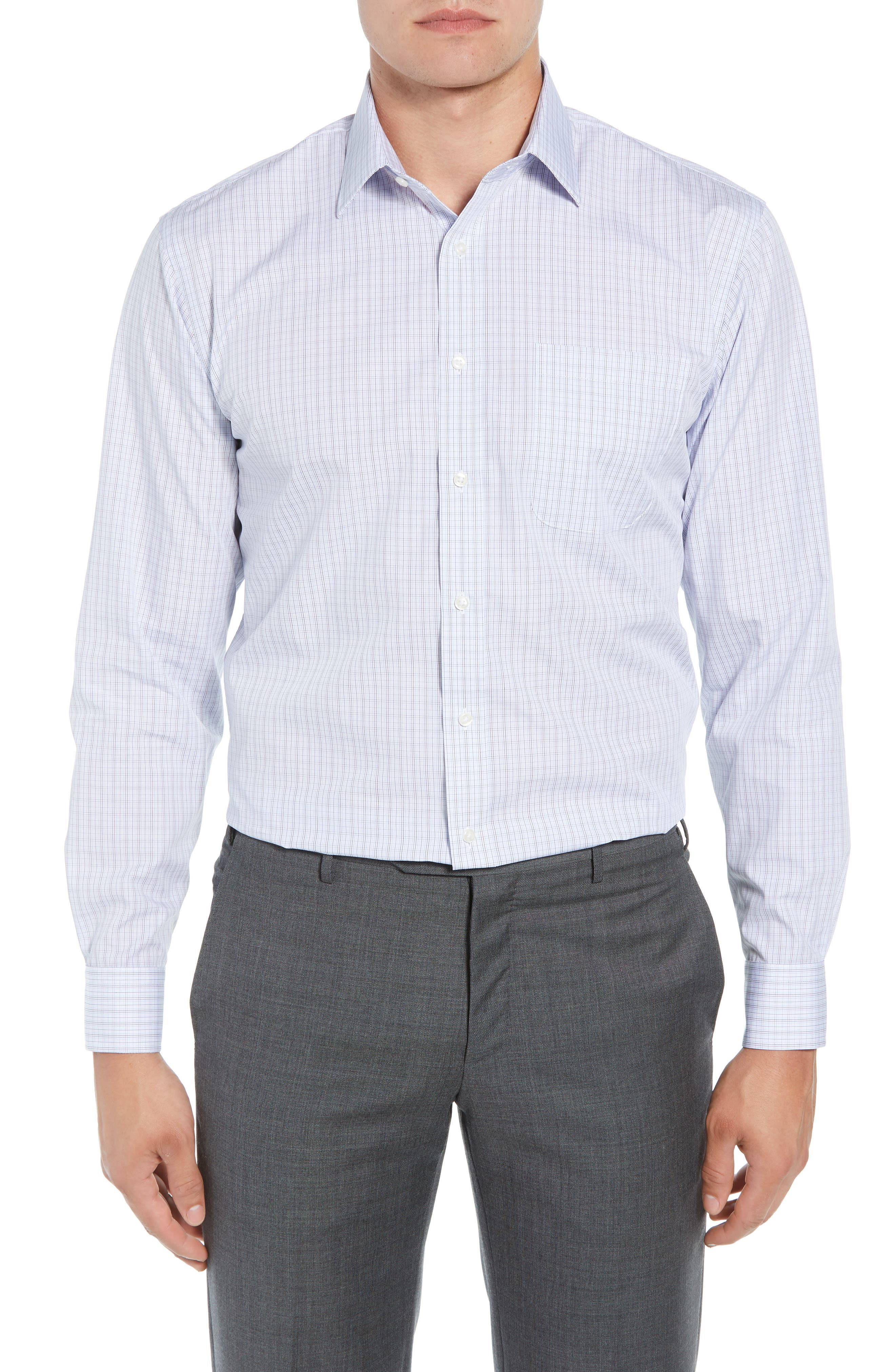 Traditional Fit Plaid Dress Shirt,                         Main,                         color, Navy Medieval