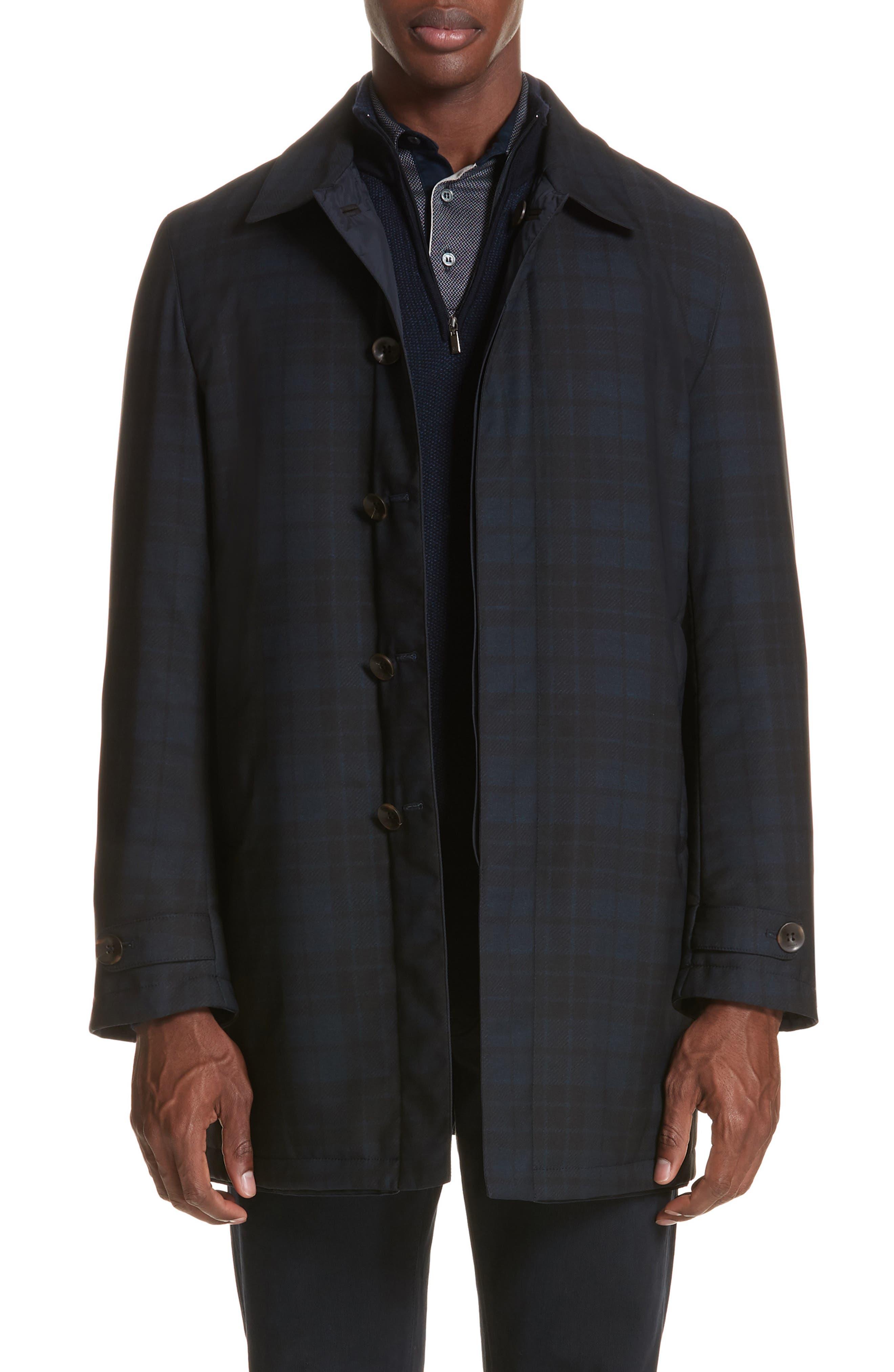 Regular Fit Reversible Raincoat,                             Main thumbnail 1, color,                             Blue