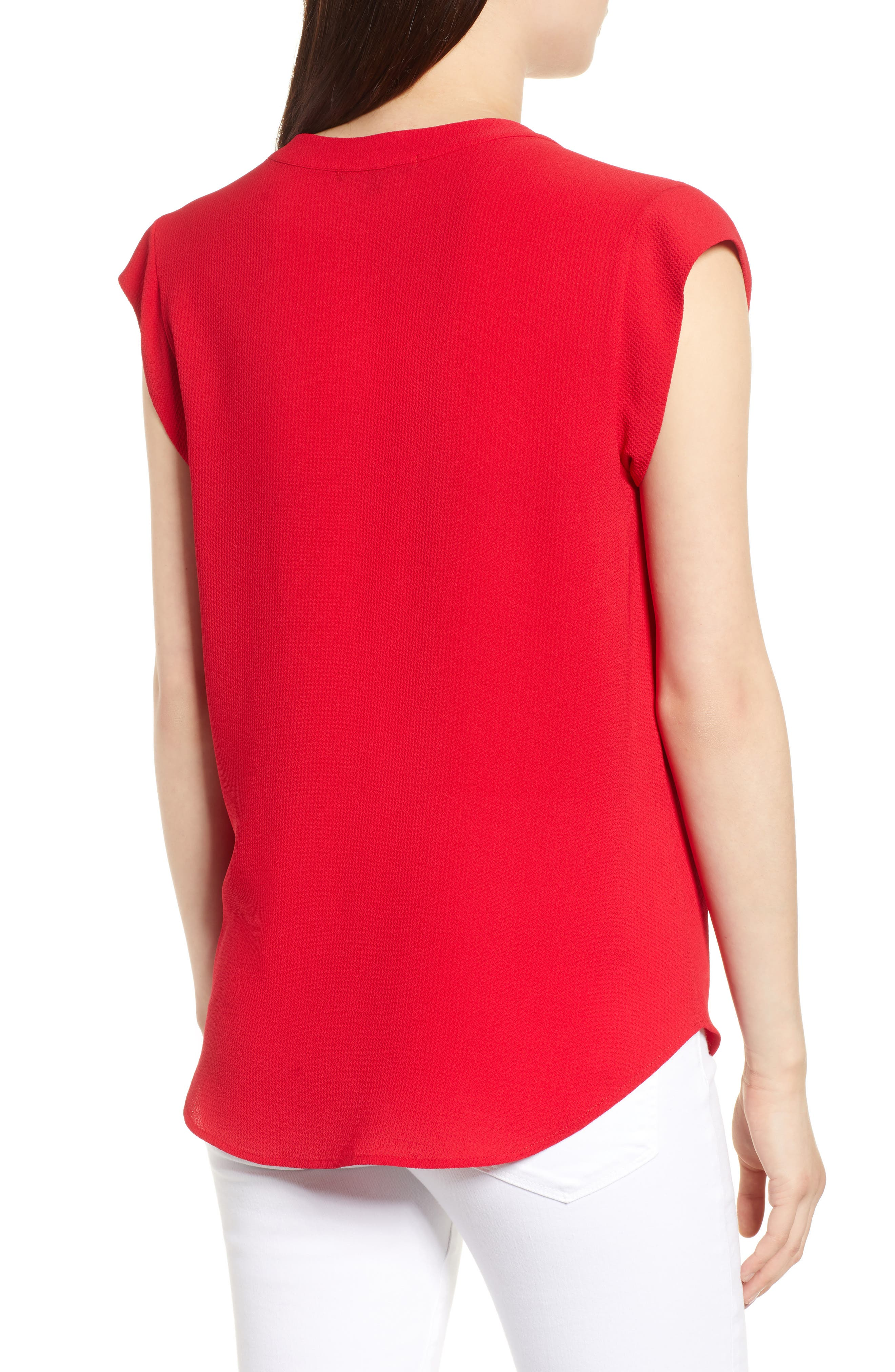 Split Neck Top,                             Alternate thumbnail 2, color,                             Red Tomato