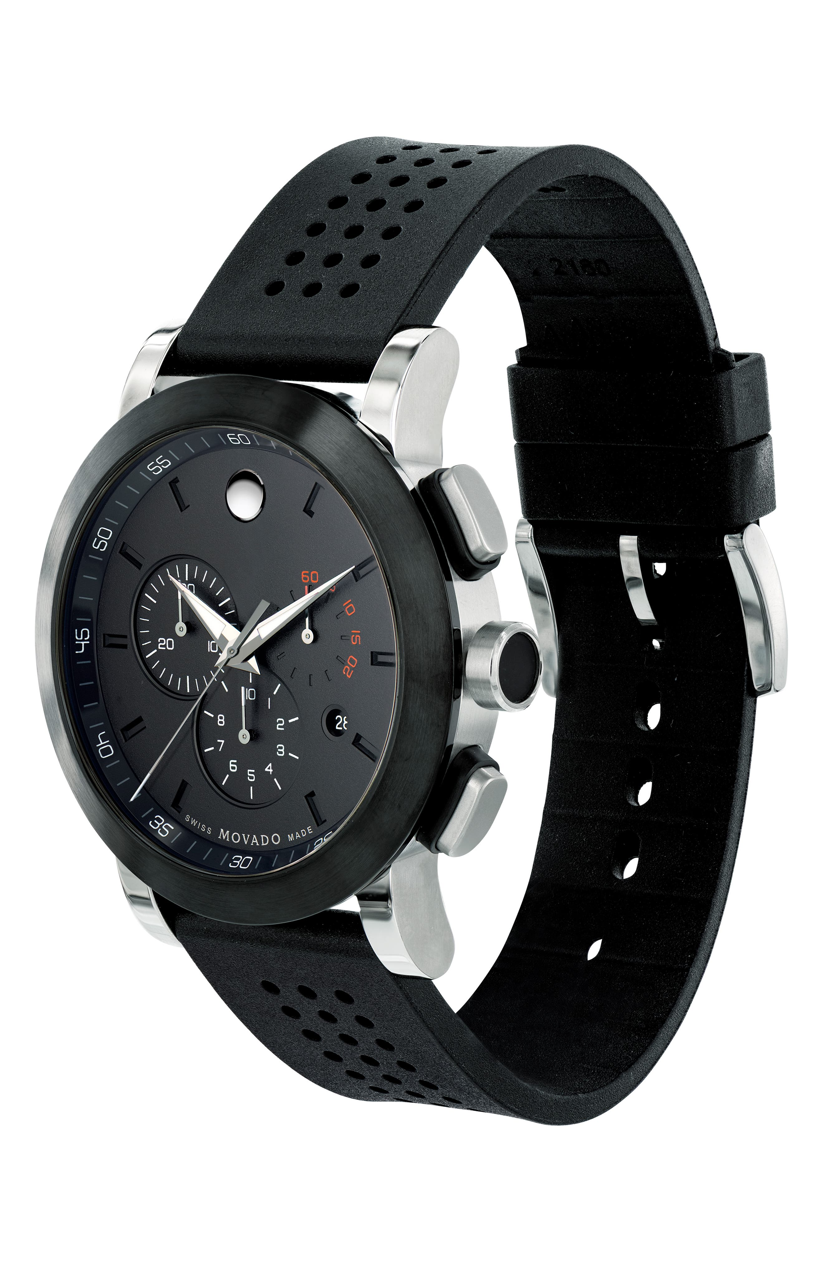 'Museum' Chronograph Rubber Strap Watch, 44mm,                             Alternate thumbnail 3, color,                             Black