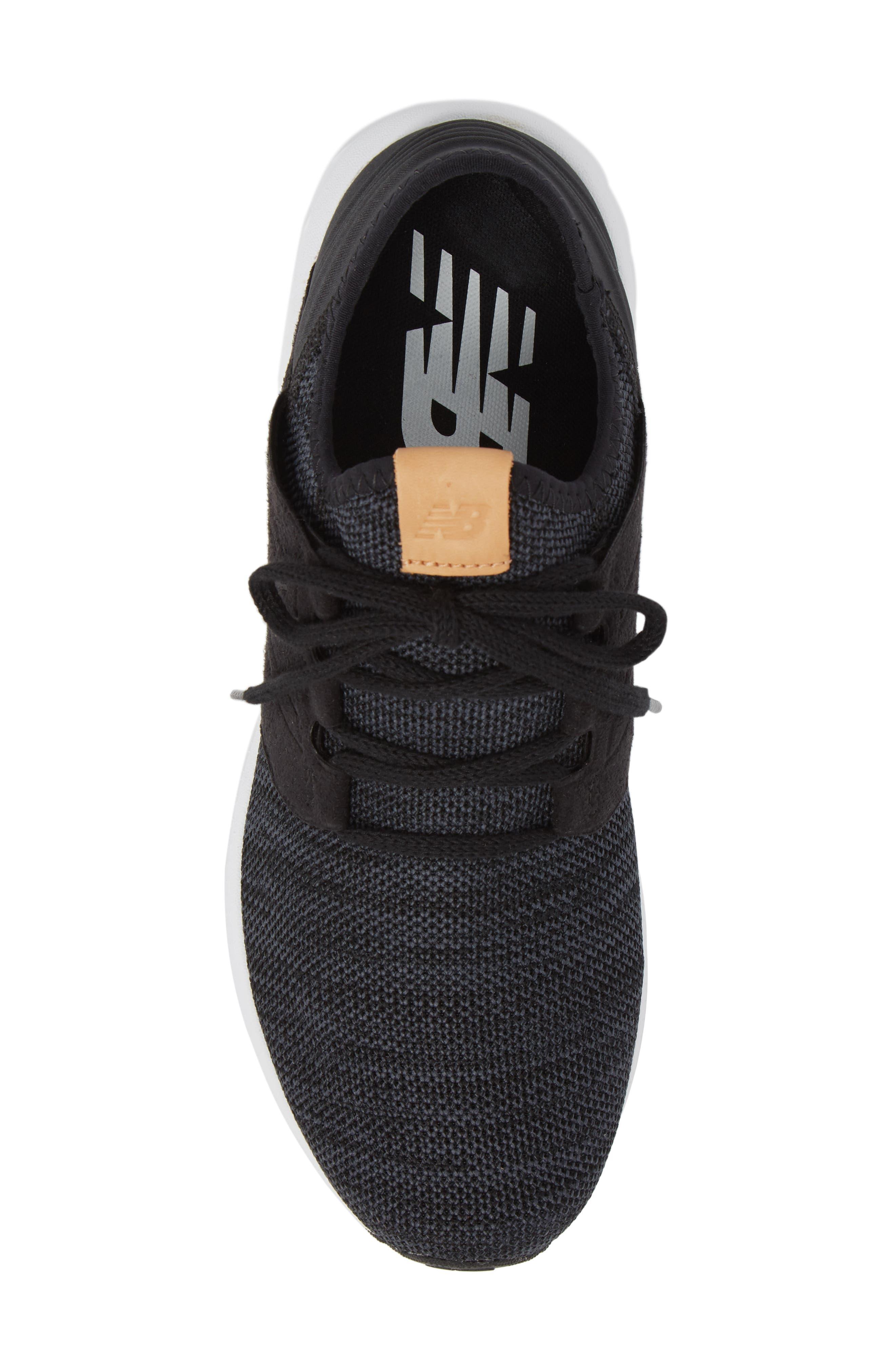 Fresh Foam Cruz v2 Knit Running Shoe,                             Alternate thumbnail 4, color,                             Black/ White