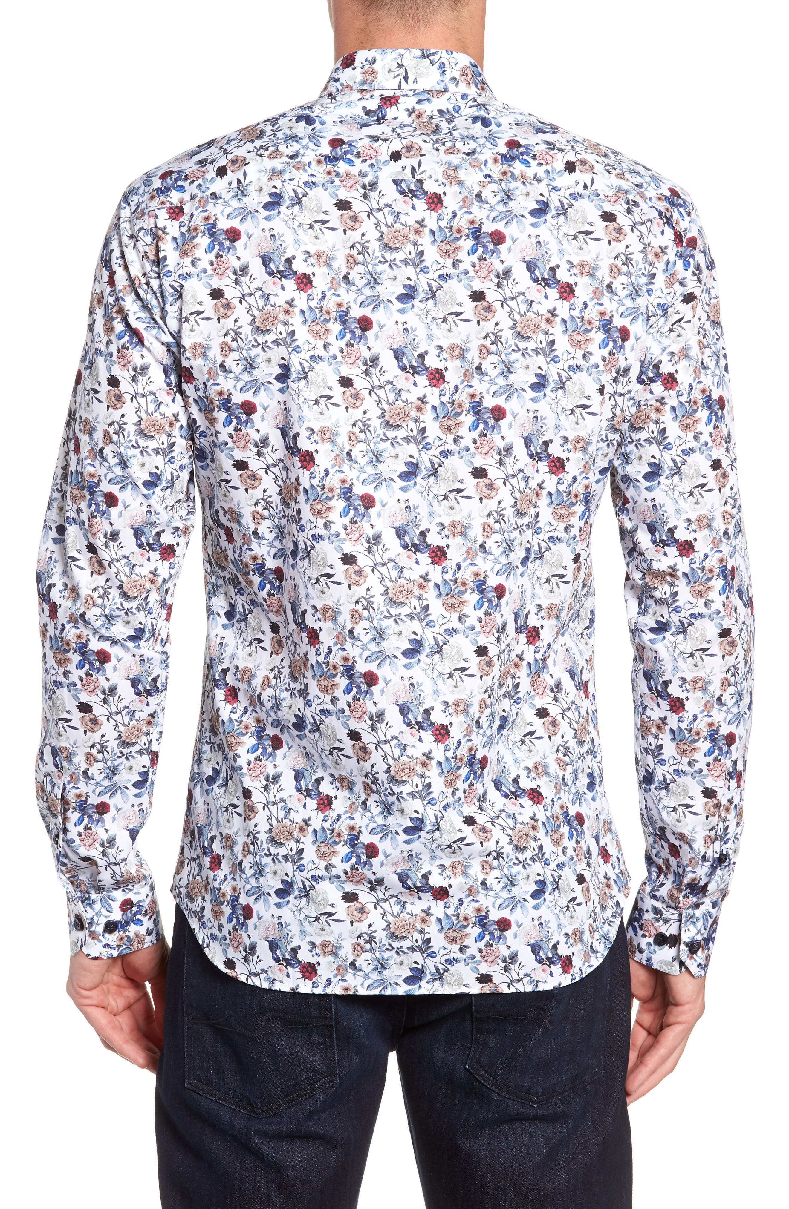 Floral Sport Shirt,                             Alternate thumbnail 3, color,                             White Navy Print