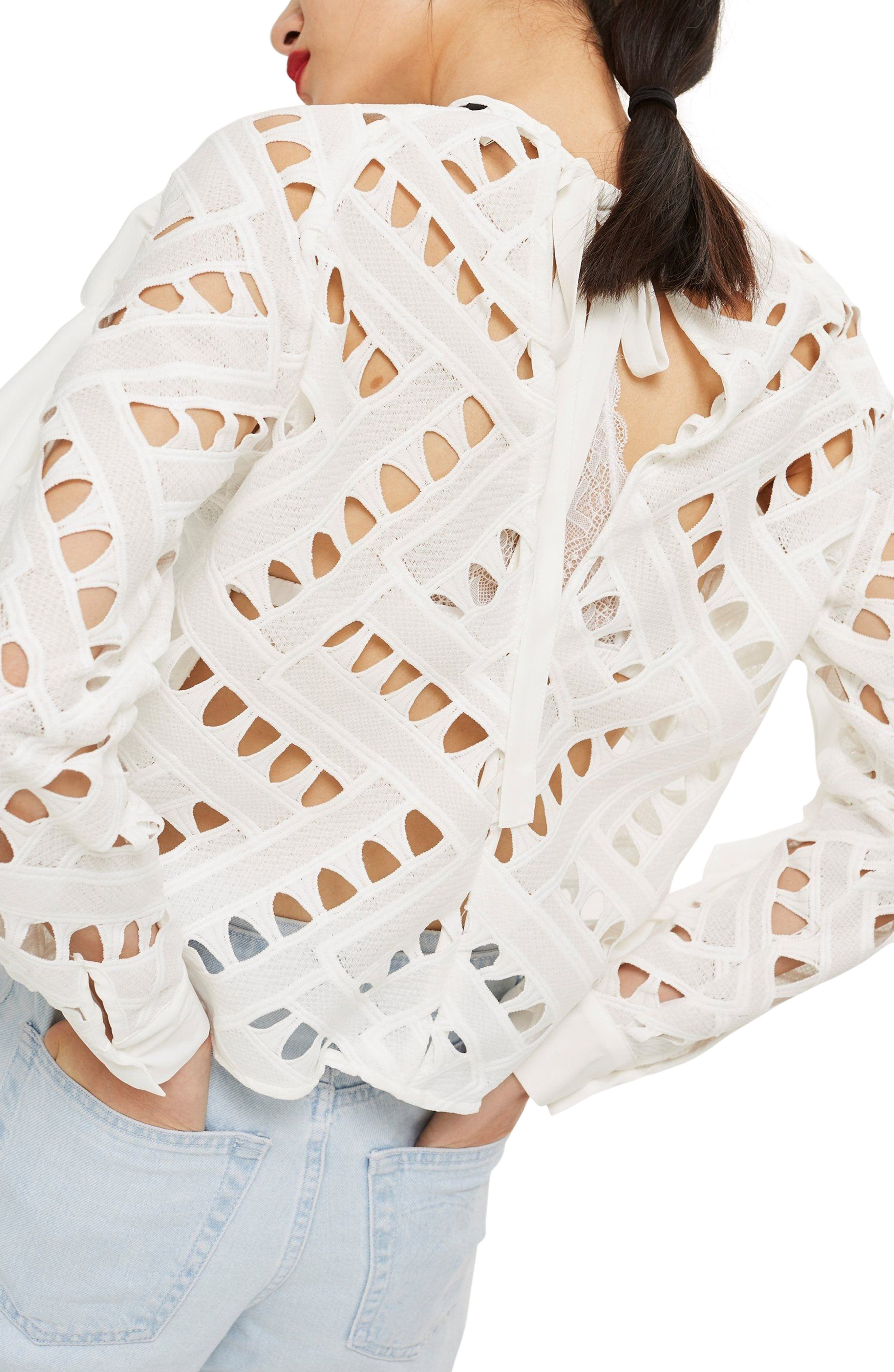 Zigzag Lace Top,                             Alternate thumbnail 3, color,                             Ivory