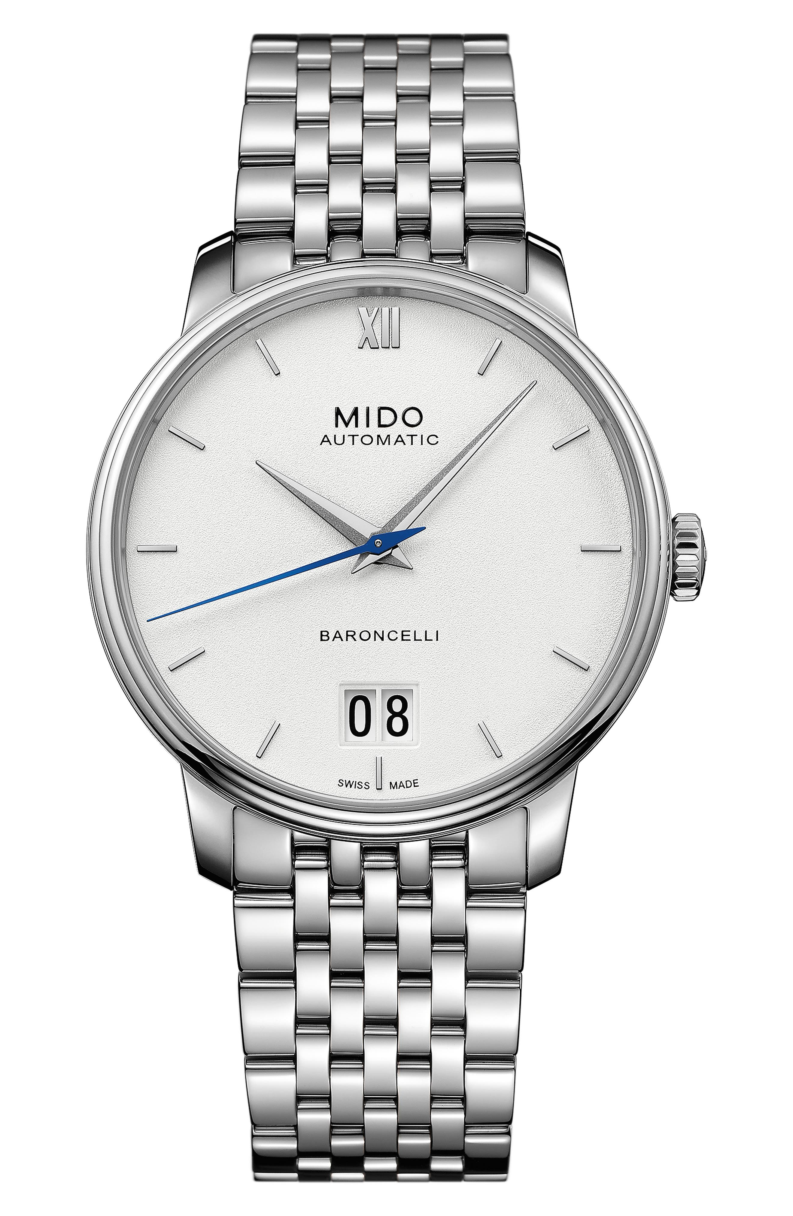 MIDO Baroncelli Iii Automatic Bracelet Watch in Silver/ White/ Silver