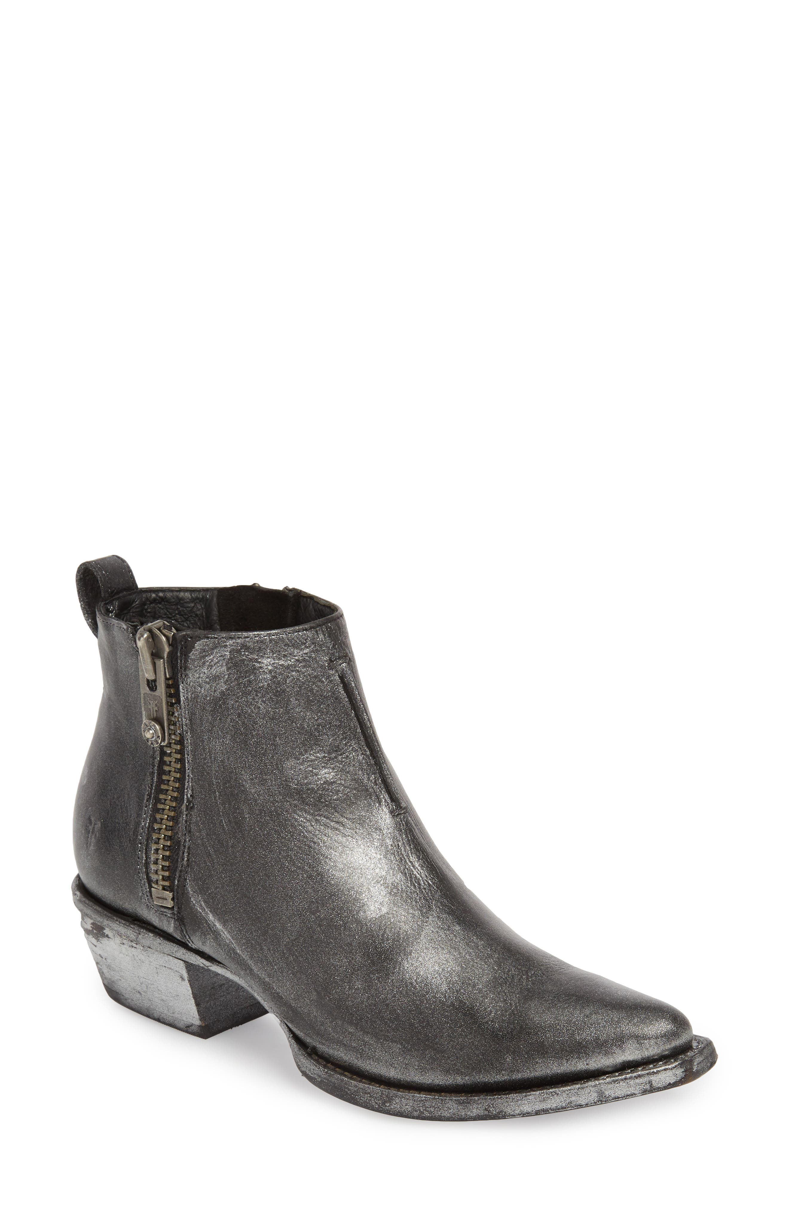 Sacha Moto Short Bootie,                             Main thumbnail 1, color,                             Black Metallic Leather