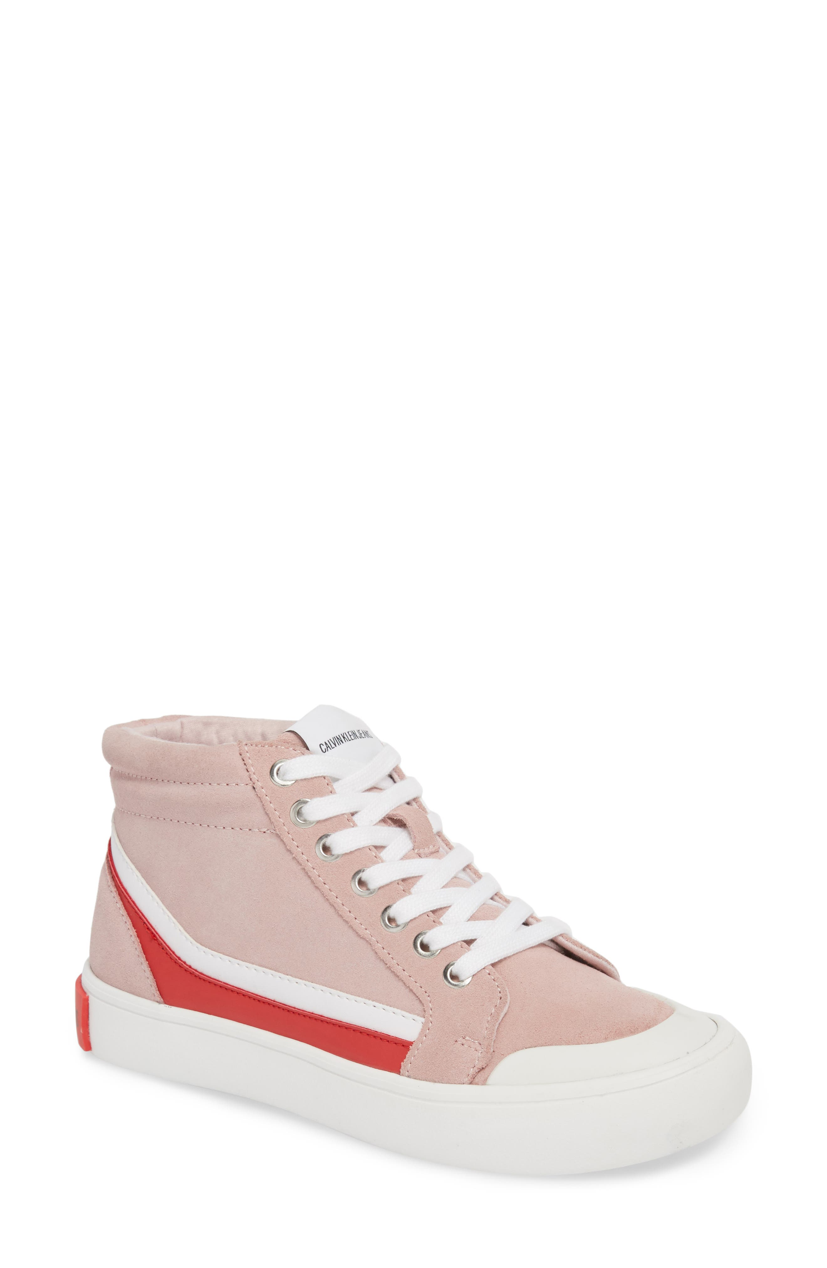 High Top Sneaker,                             Main thumbnail 1, color,                             Chintz Rose/ White/ Tomato