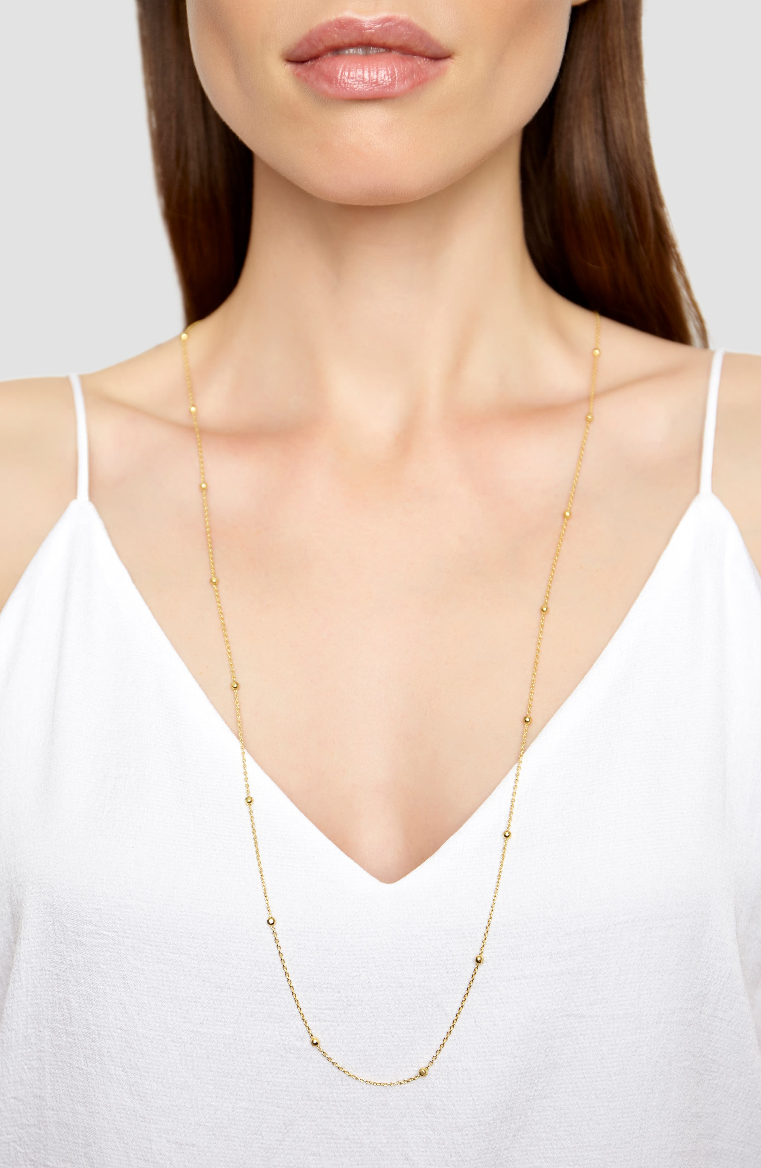 Long Station Necklace,                             Alternate thumbnail 2, color,                             Gold