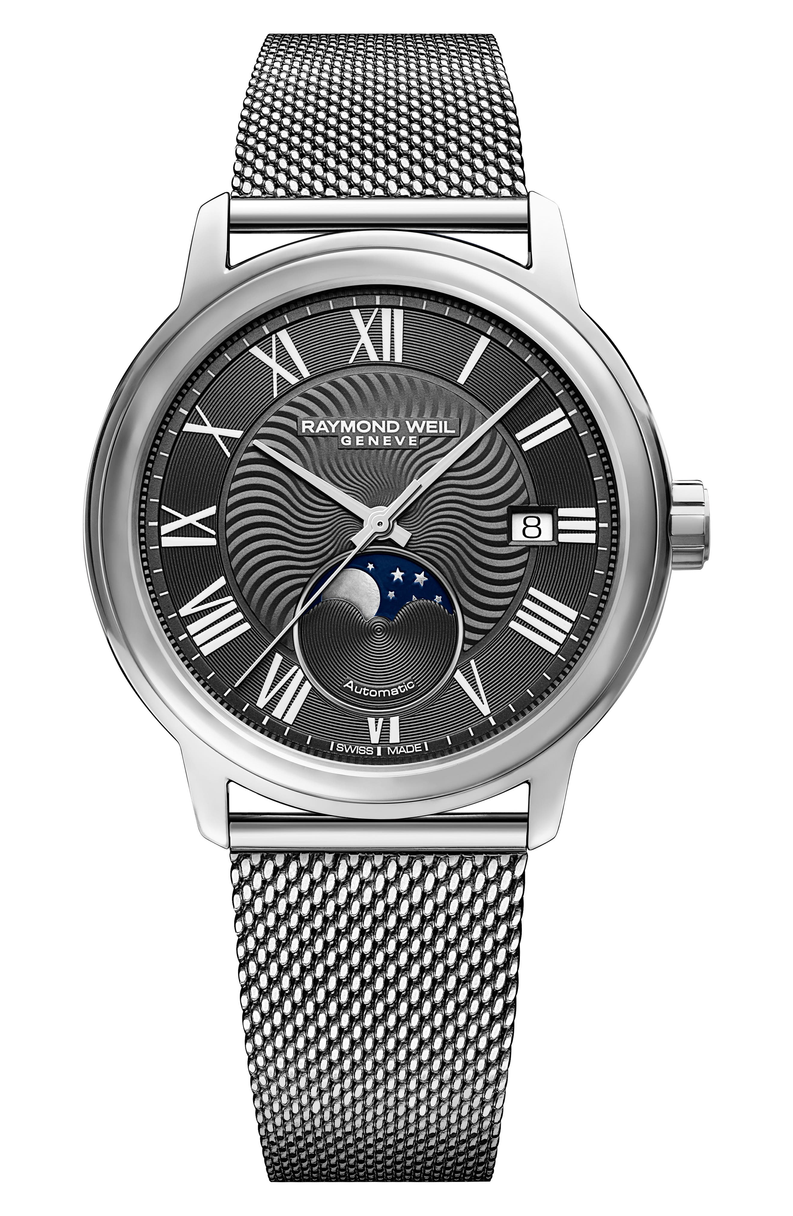 RAYMOND WEIL MAESTRO MOON PHASE AUTOMATIC MESH STRAP WATCH, 40MM