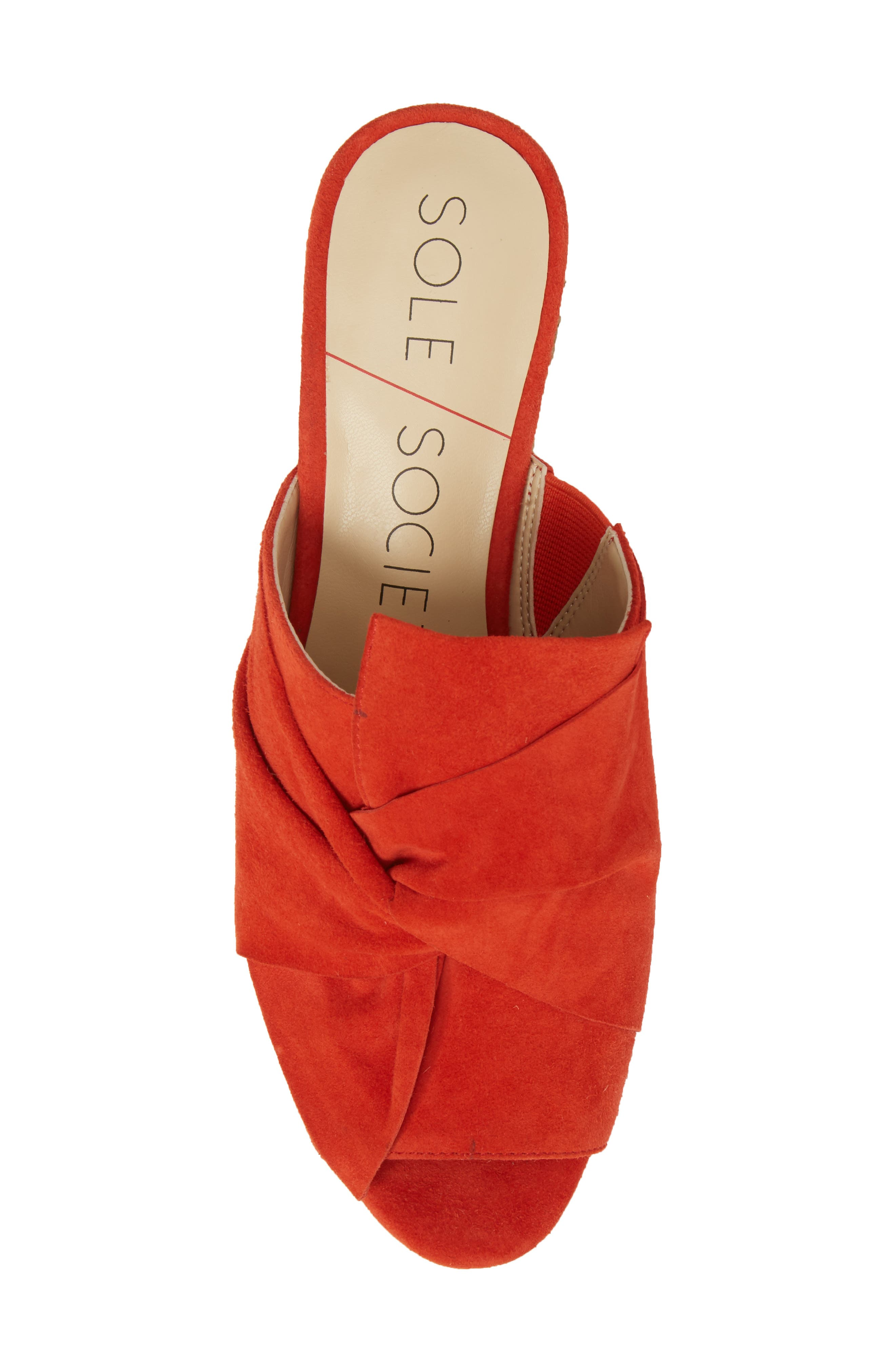 Carima Espadrille Wedge,                             Alternate thumbnail 5, color,                             Bright Coral Suede