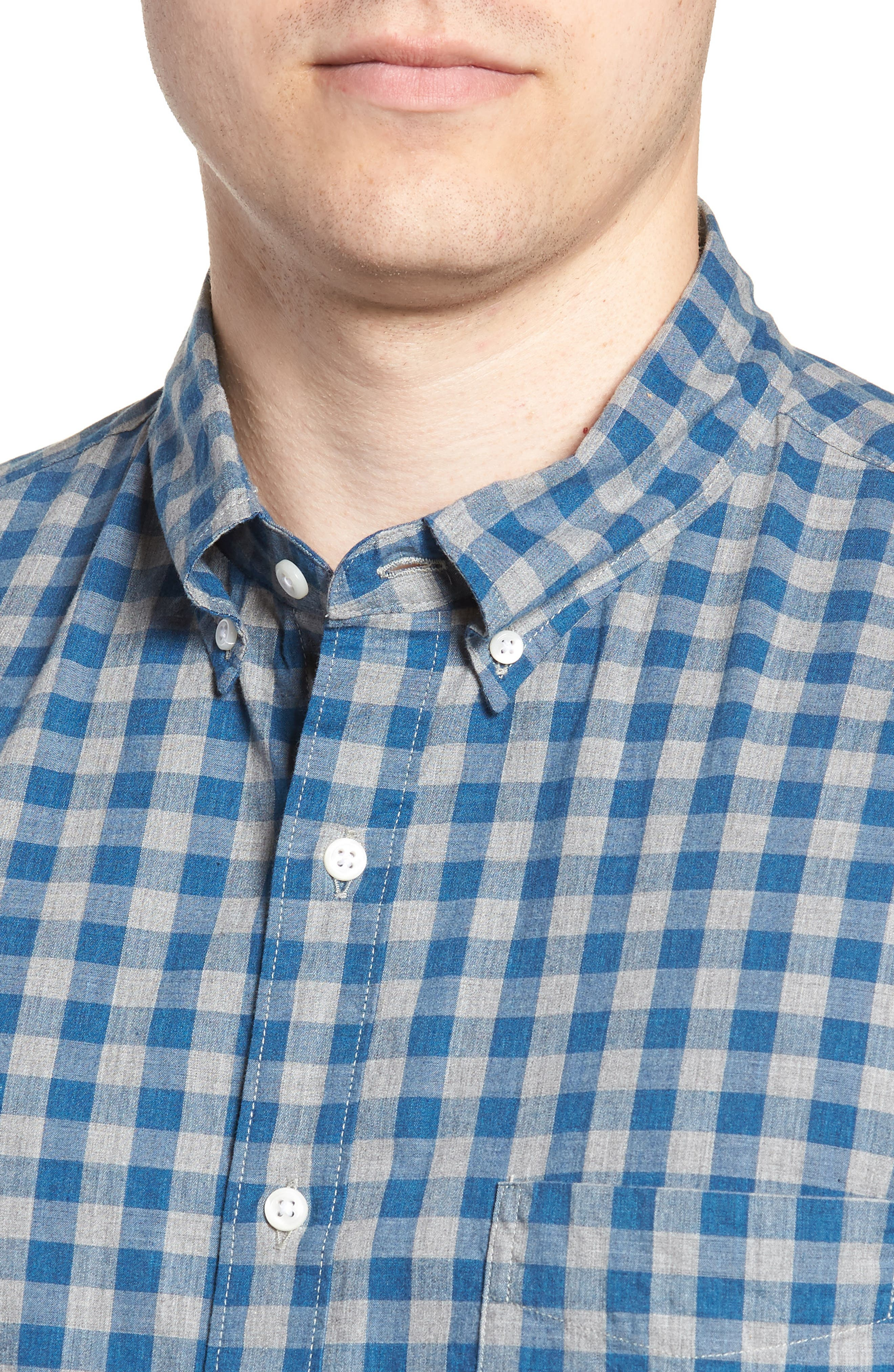 Slim Fit Stretch Secret Wash Heather Gingham Poplin Shirt,                             Alternate thumbnail 2, color,                             Graphite Navy