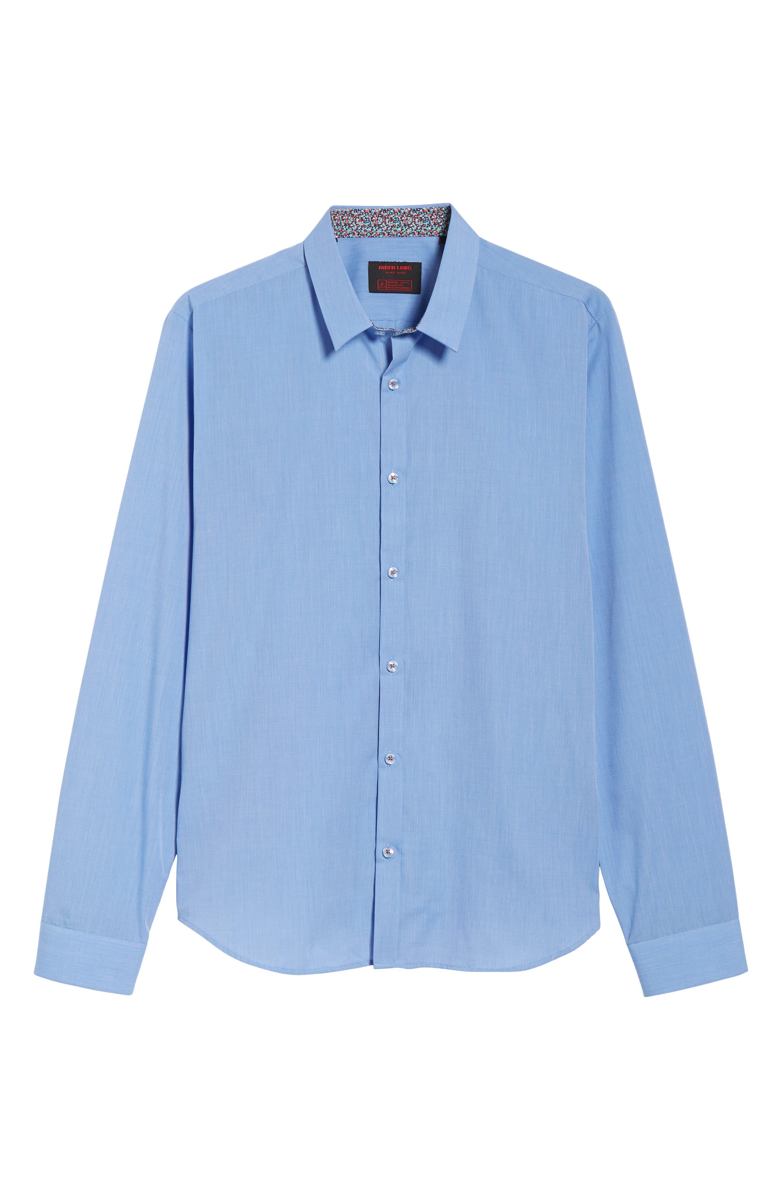 Trim Fit Sport Shirt,                             Alternate thumbnail 5, color,                             Baby Blue