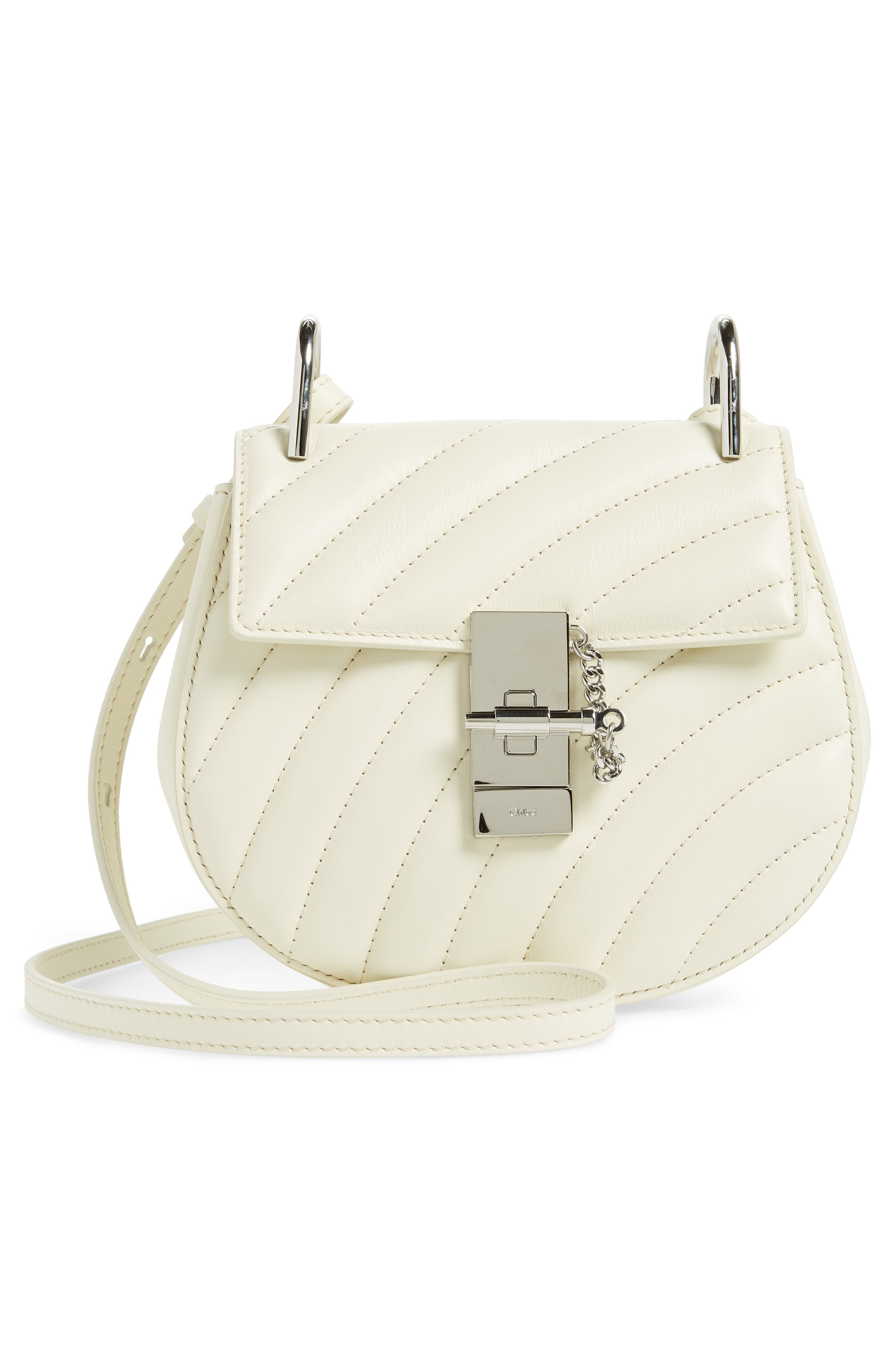 Mini Drew Bijoux Leather Shoulder Bag,                             Alternate thumbnail 9, color,                             Natural White