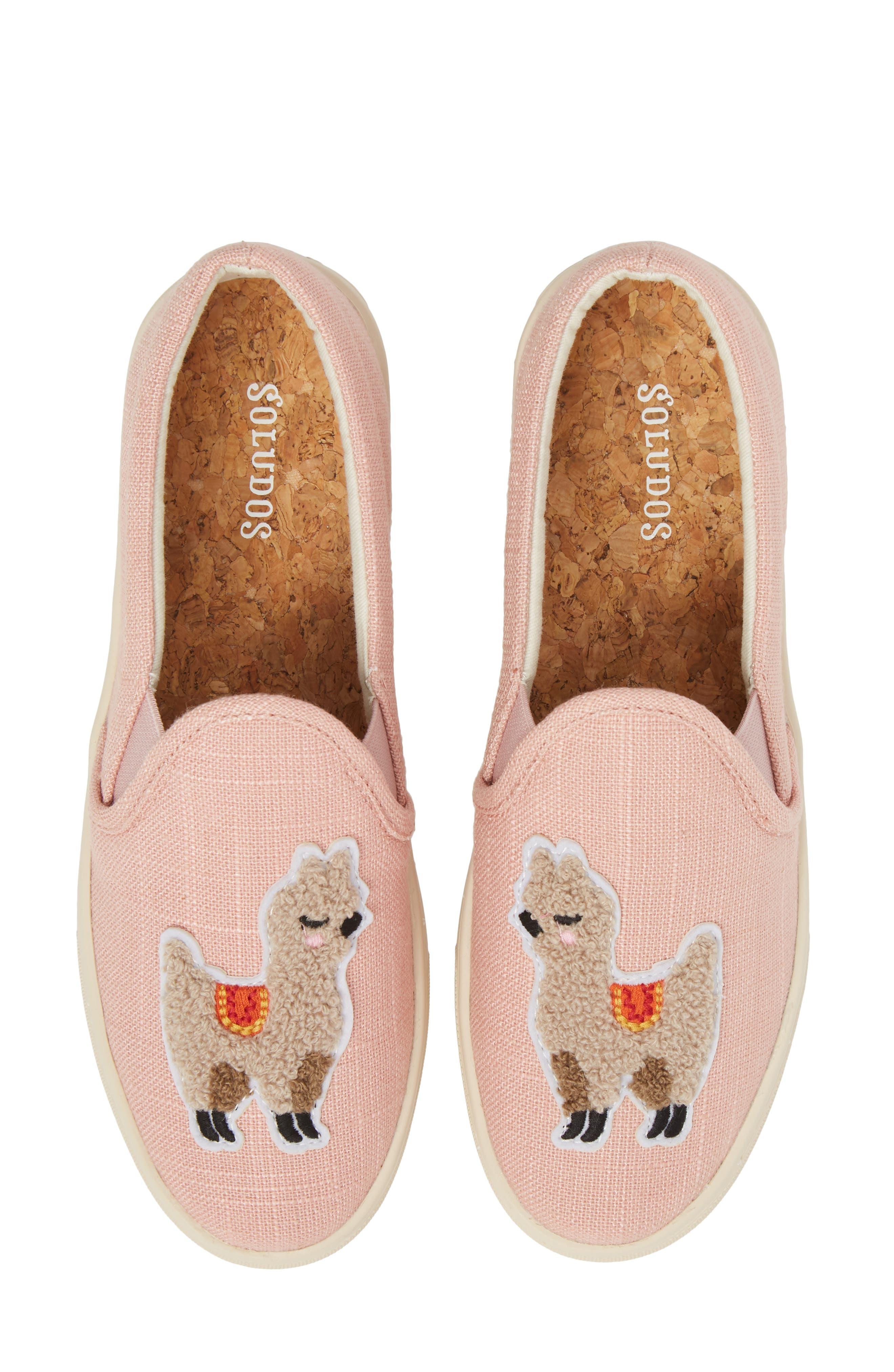 Llama Slip-On Sneaker,                         Main,                         color, Dusty Rose Fabric
