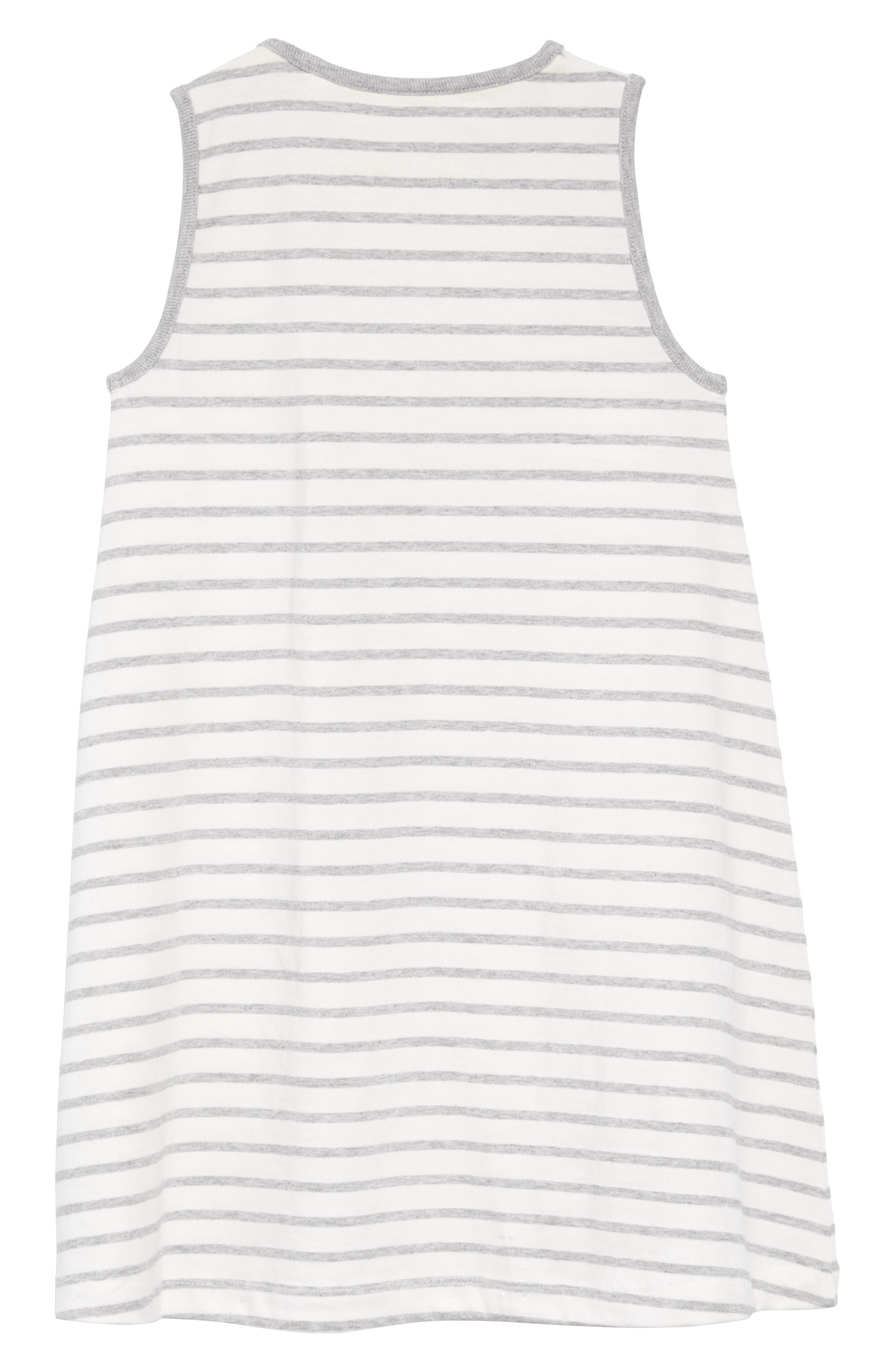Vacation Appliqué Dress,                             Alternate thumbnail 2, color,                             Ivory/ Grey Marl Stripe