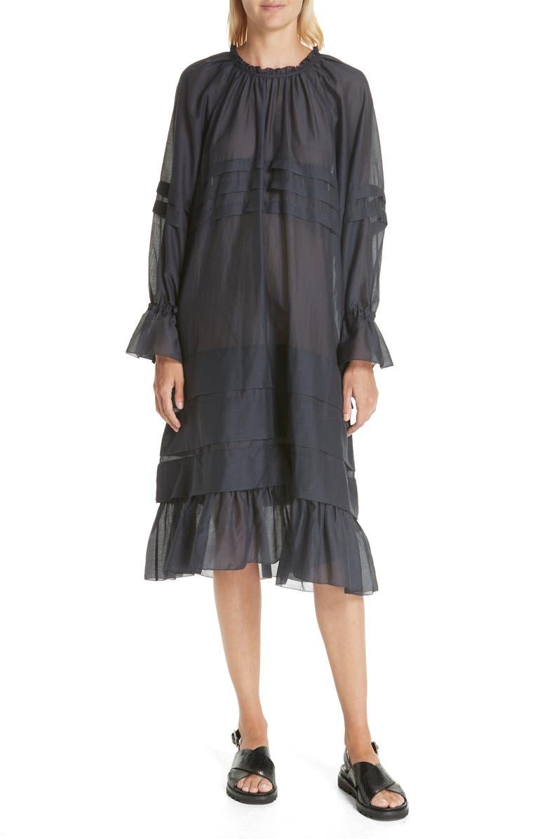Eva Pleated Cotton  Silk Raglan Dress