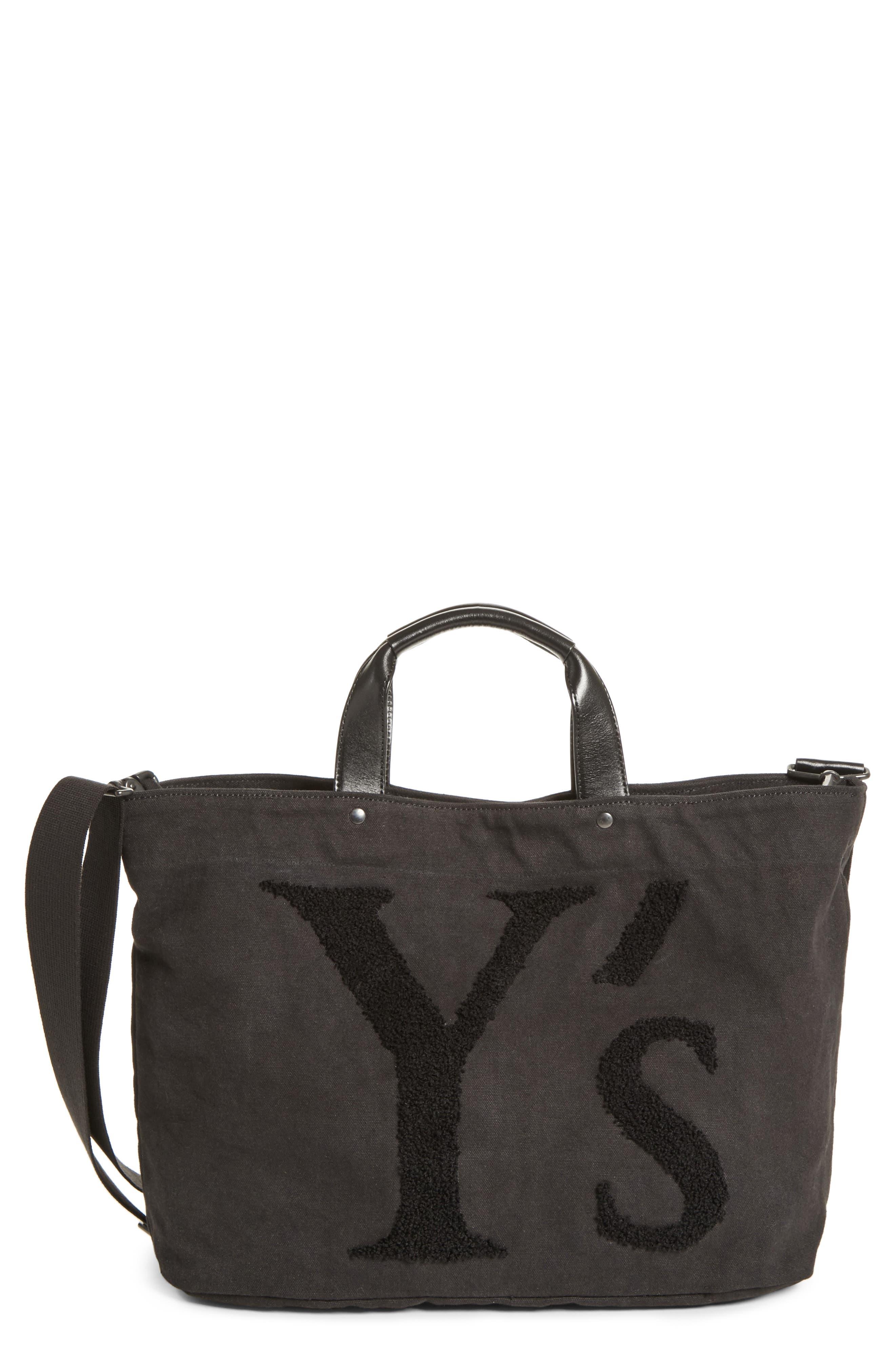 Ys By Yohji Yamamoto Embroidered Canvas Tote Bag - Black