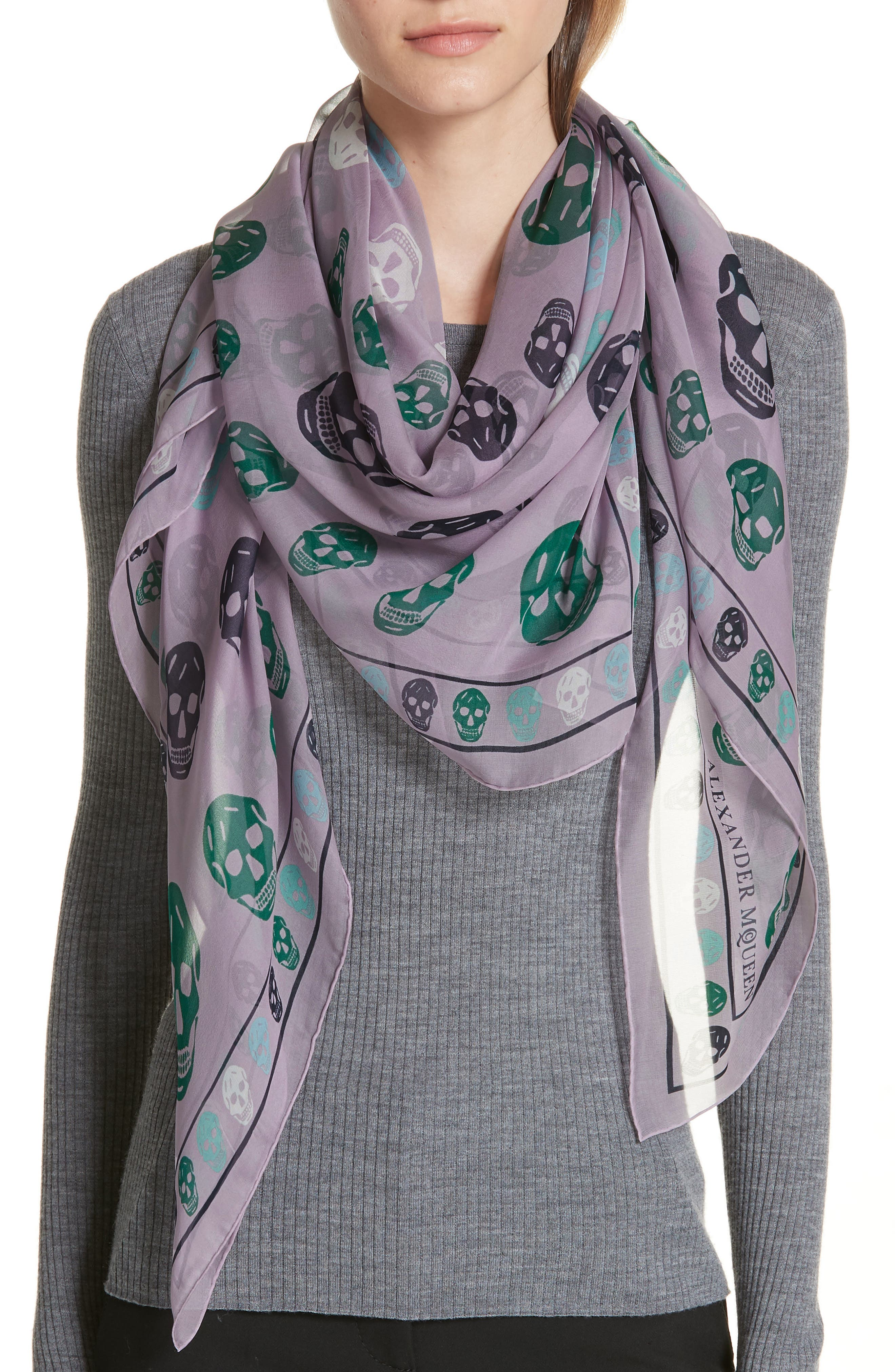 Skull Print Chiffon Scarf,                             Alternate thumbnail 2, color,                             Lilac/ Sky Blue
