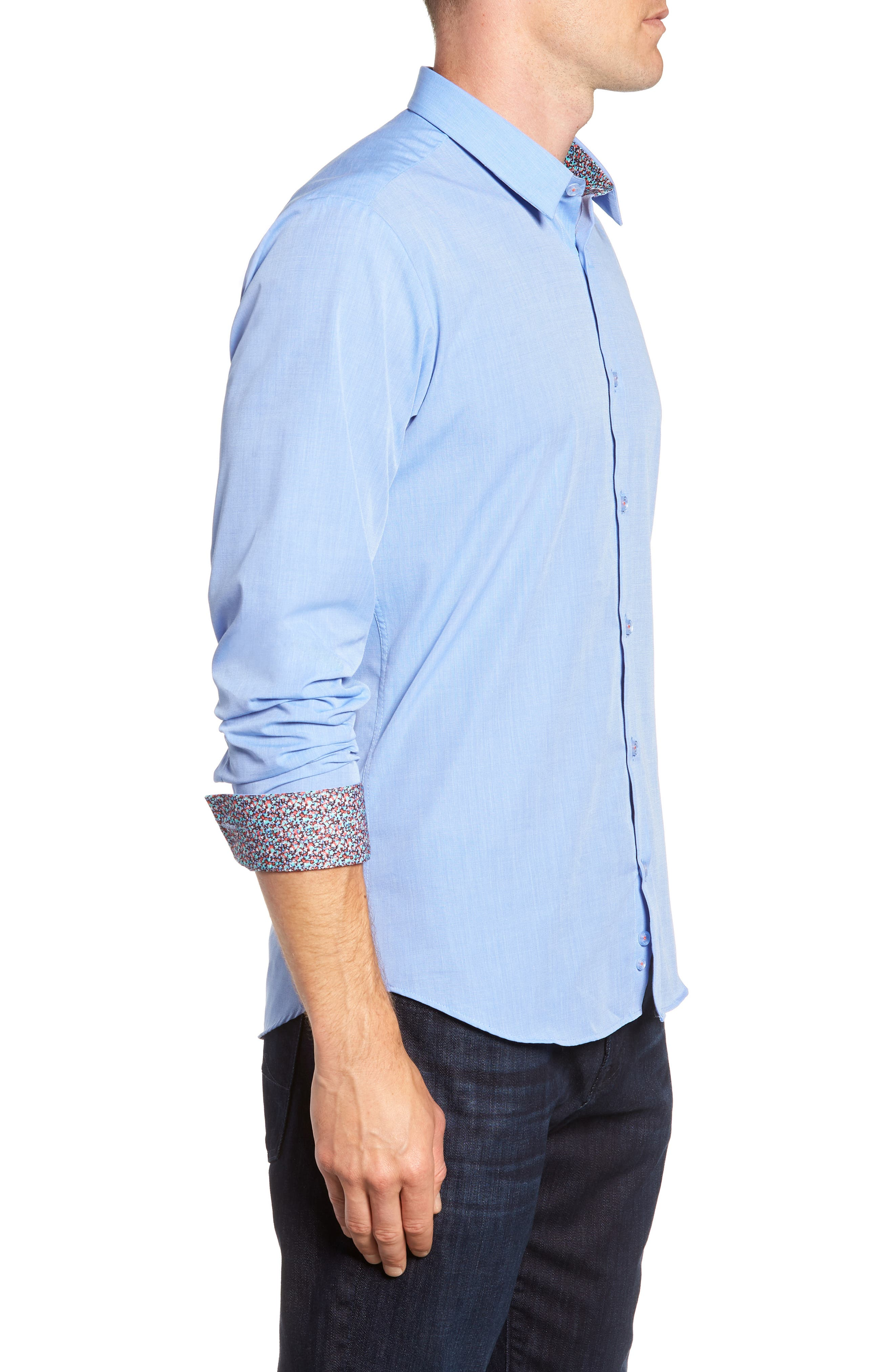 Trim Fit Sport Shirt,                             Alternate thumbnail 4, color,                             Baby Blue