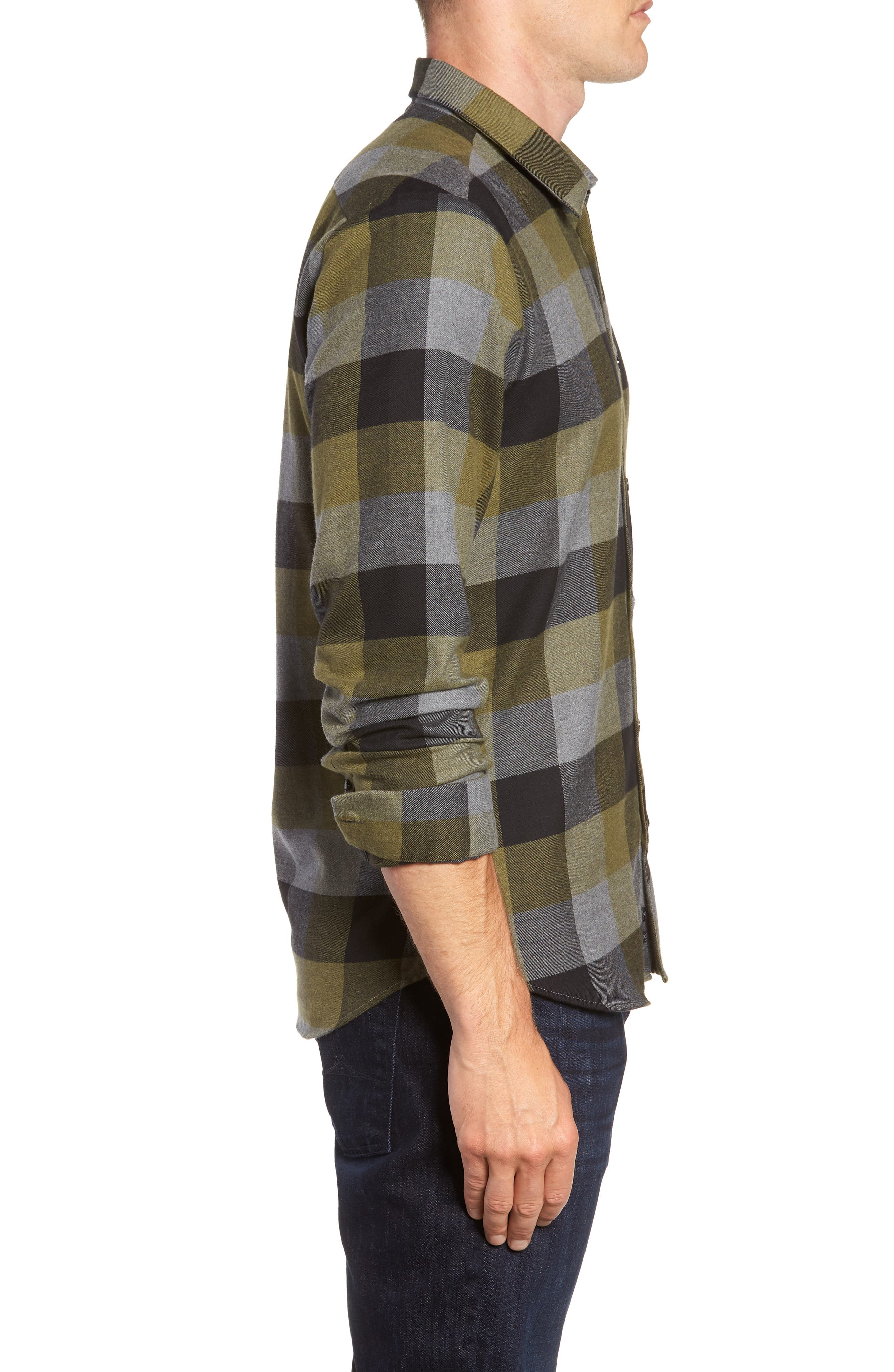 Check Sport Shirt,                             Alternate thumbnail 4, color,                             Olive Green Check