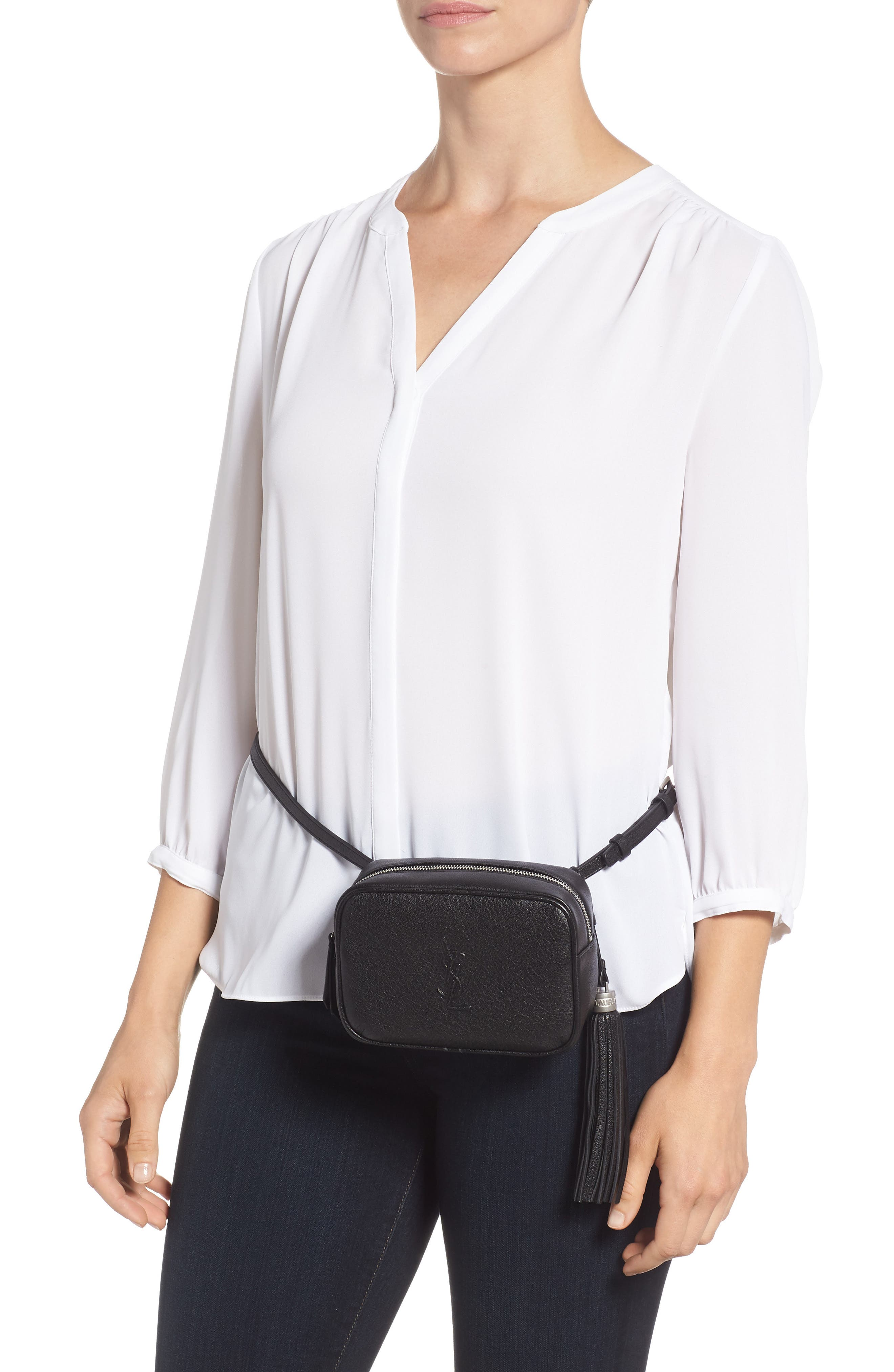 Loulou Tassel Leather Belt Bag,                             Alternate thumbnail 3, color,                             Noir