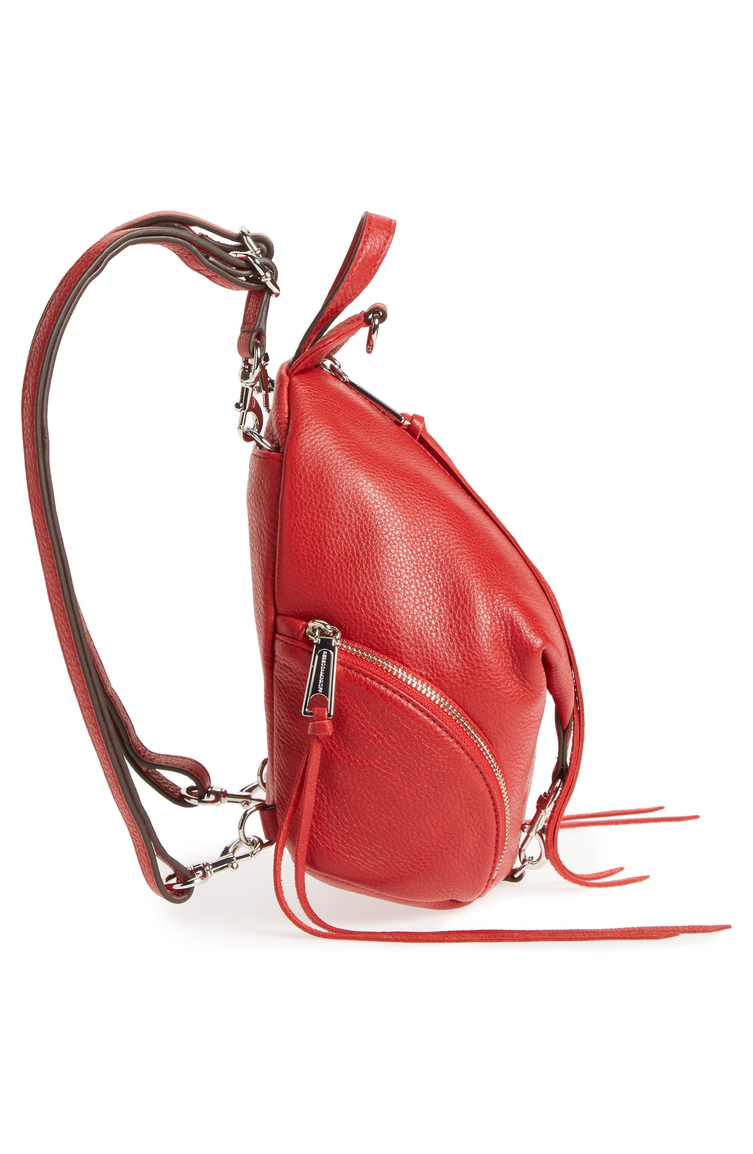 Mini Julian Nubuck Leather Convertible Backpack,                             Alternate thumbnail 3, color,                             Scarlet