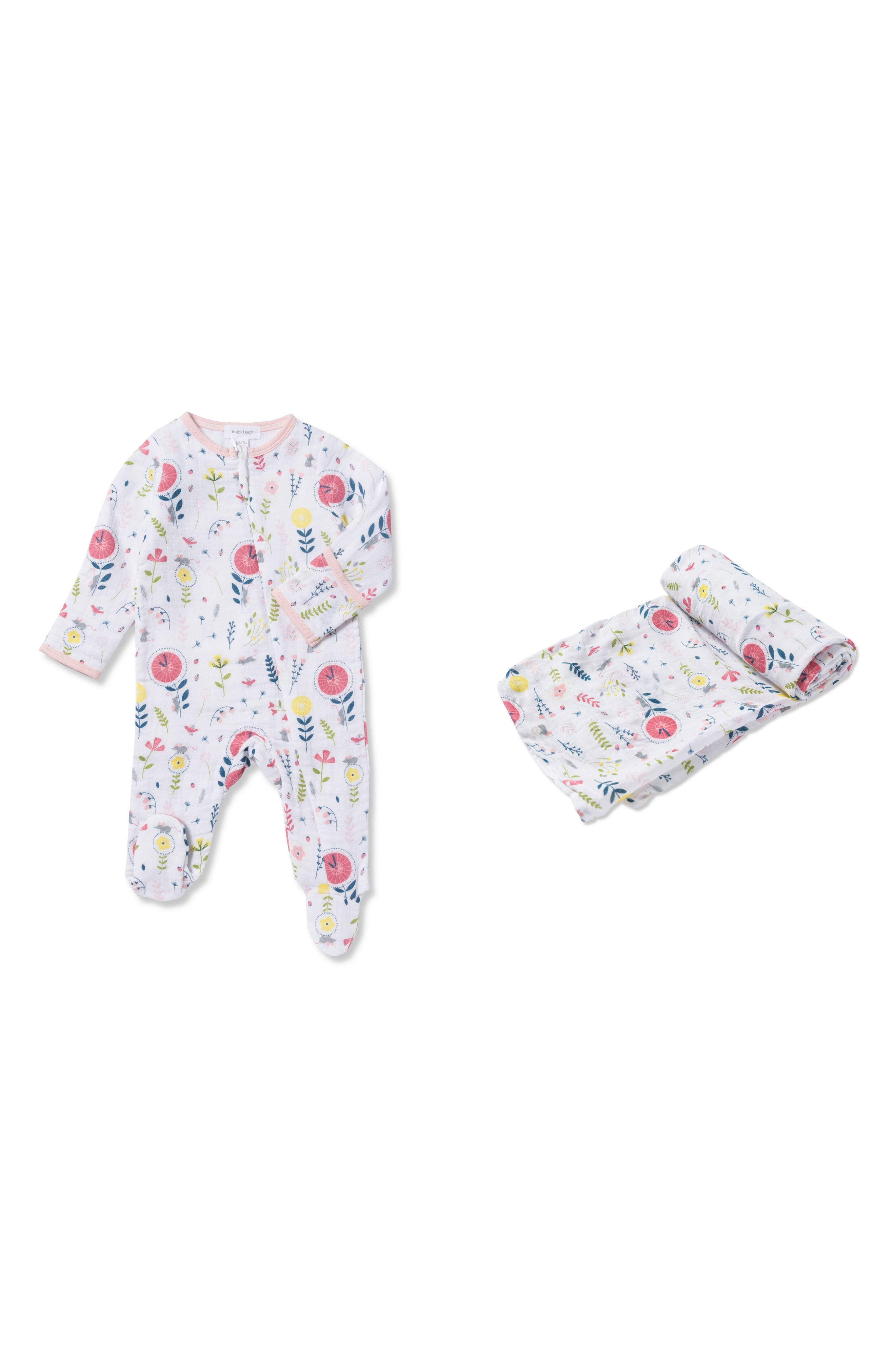 Hickory Dickory Dock Footie & Swaddle Blanket Set,                             Main thumbnail 1, color,                             Multi
