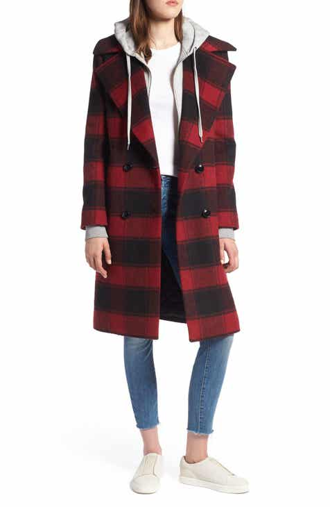 KENDALL + KYLIE Double Breasted Plaid Wool Blend Coat e5a43eda0