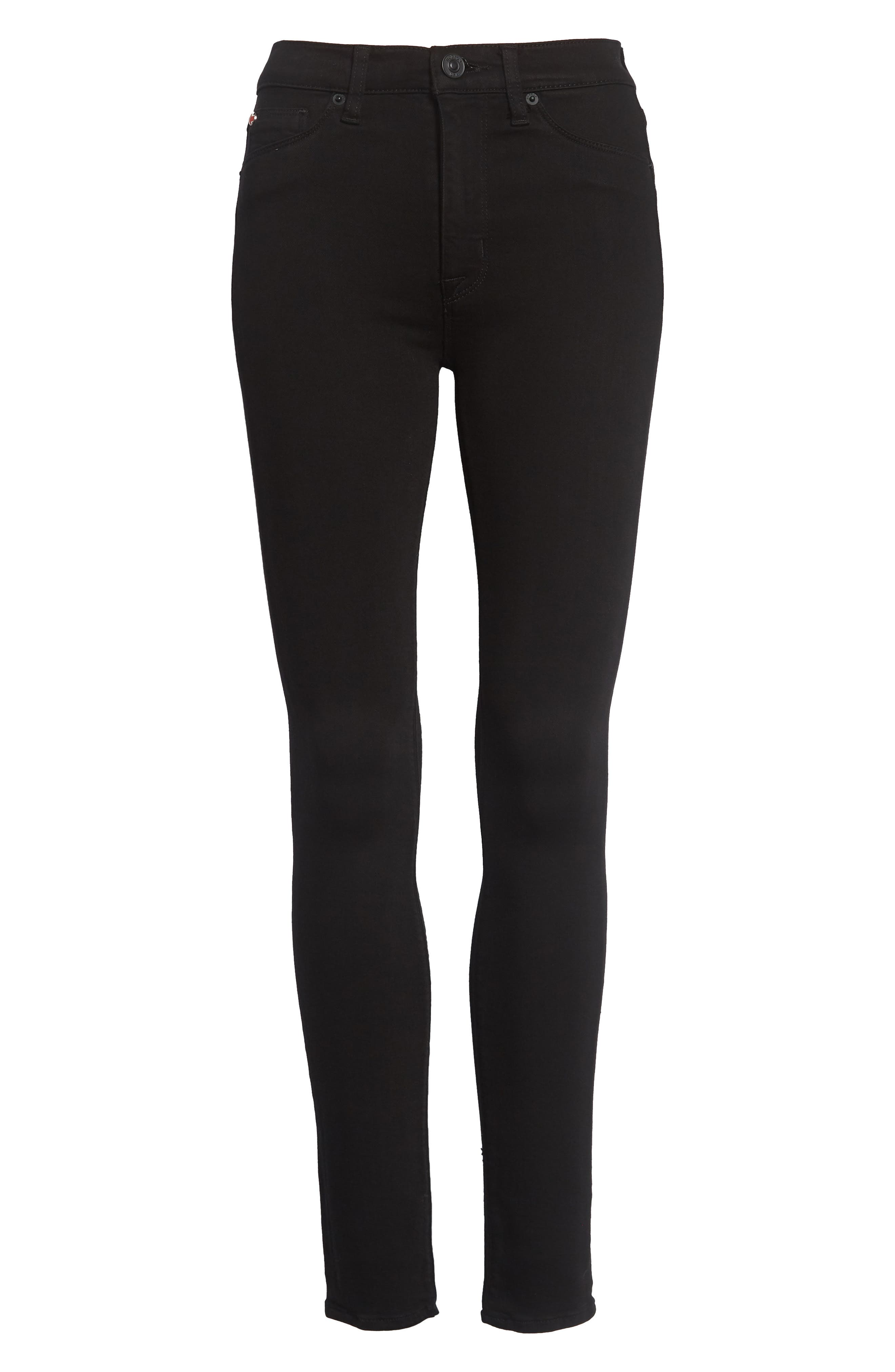 Barbara High Waist Skinny Jeans,                             Alternate thumbnail 4, color,                             Black
