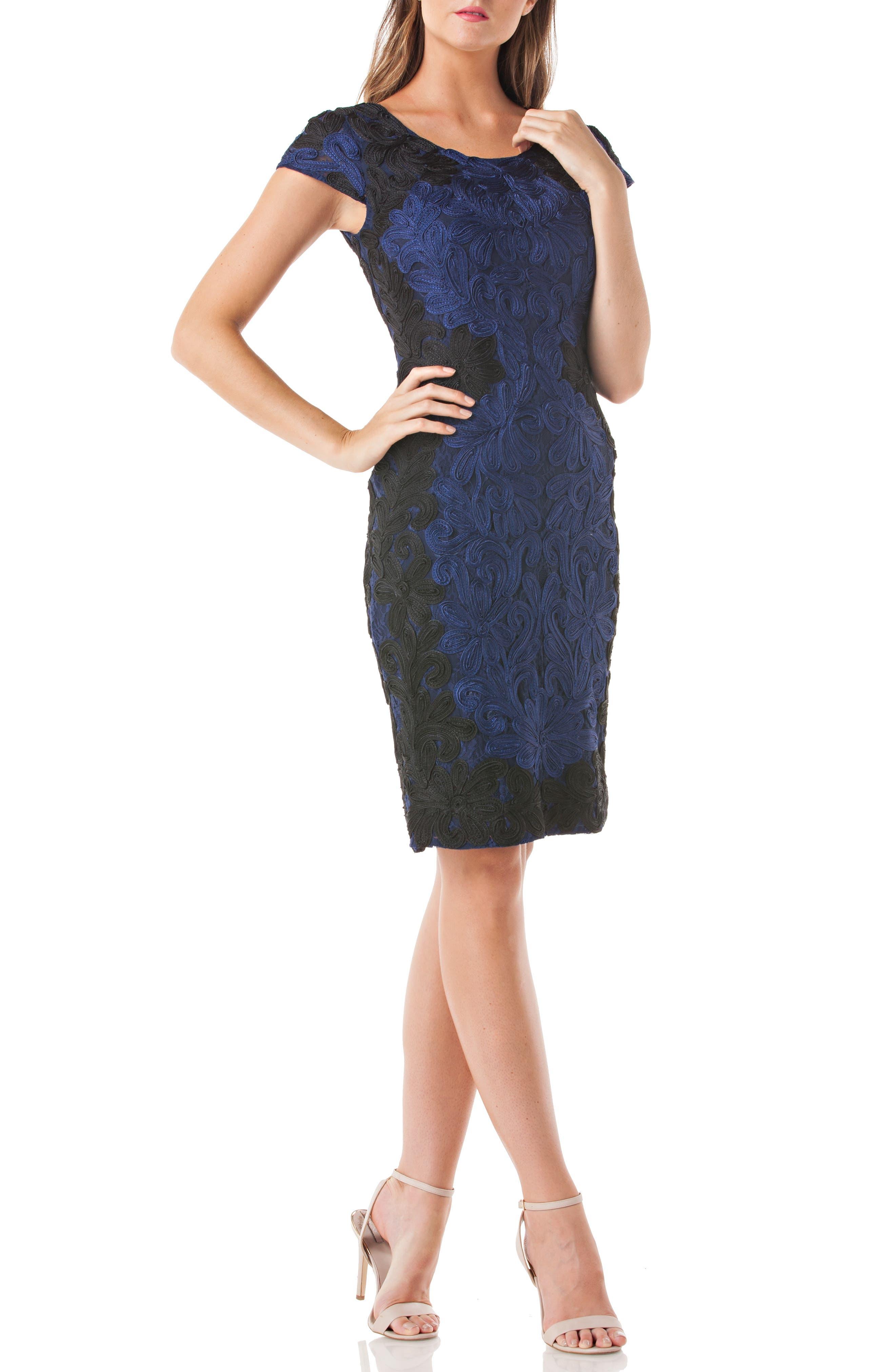 Contrast Soutache Sheath Dress,                             Main thumbnail 1, color,                             Cobalt/ Black