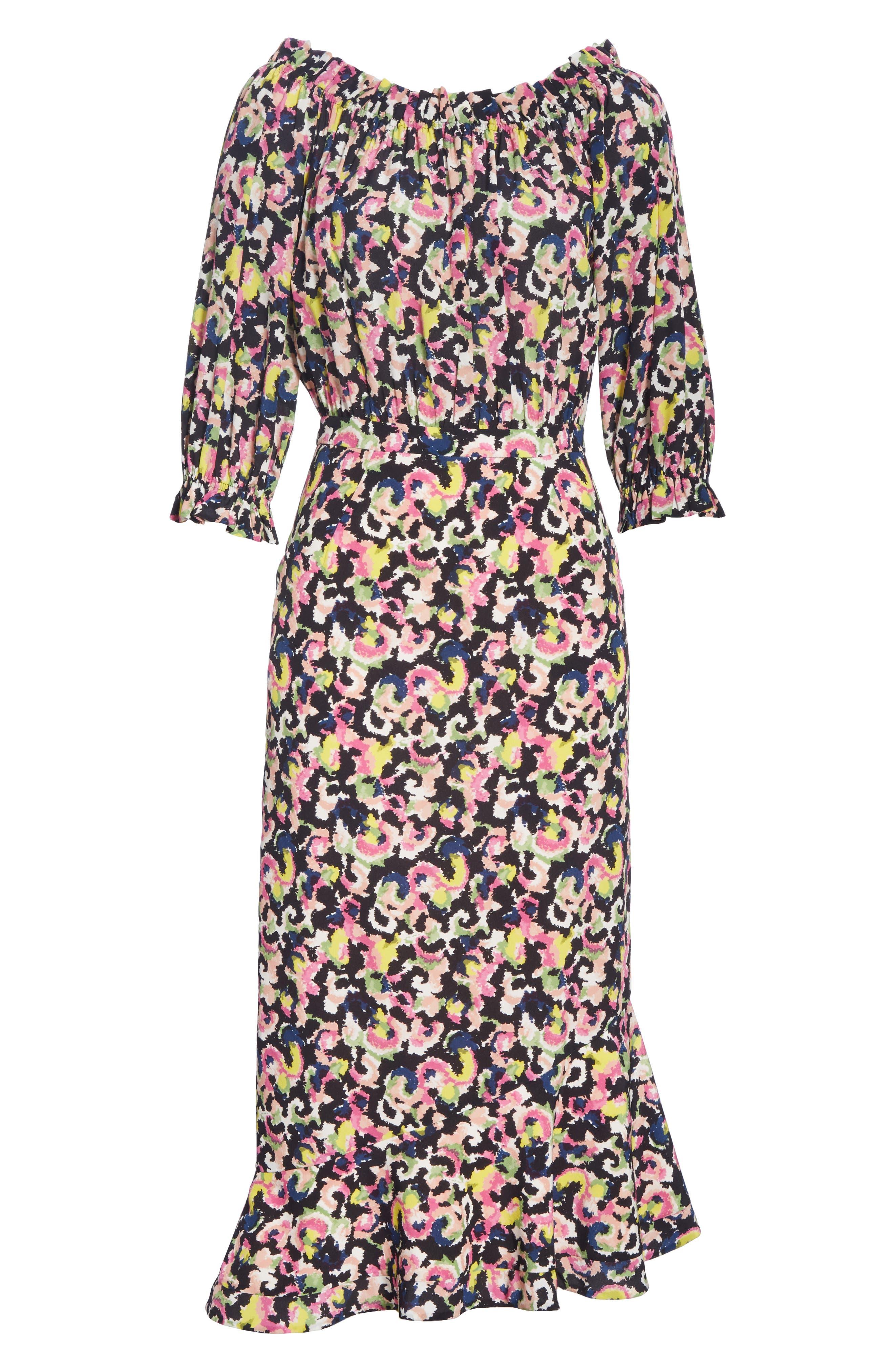 Grace Print Silk Off the Shoulder Dress,                             Alternate thumbnail 6, color,                             Hothouse Mirage