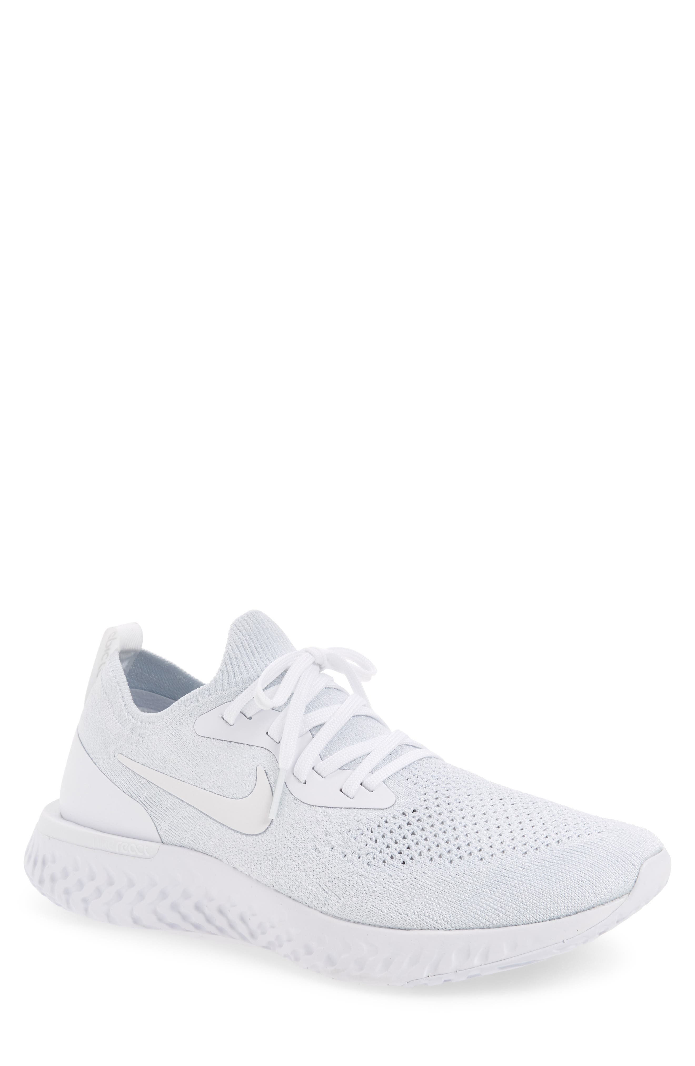 Epic React Flyknit Running Shoe,                         Main,                         color, White