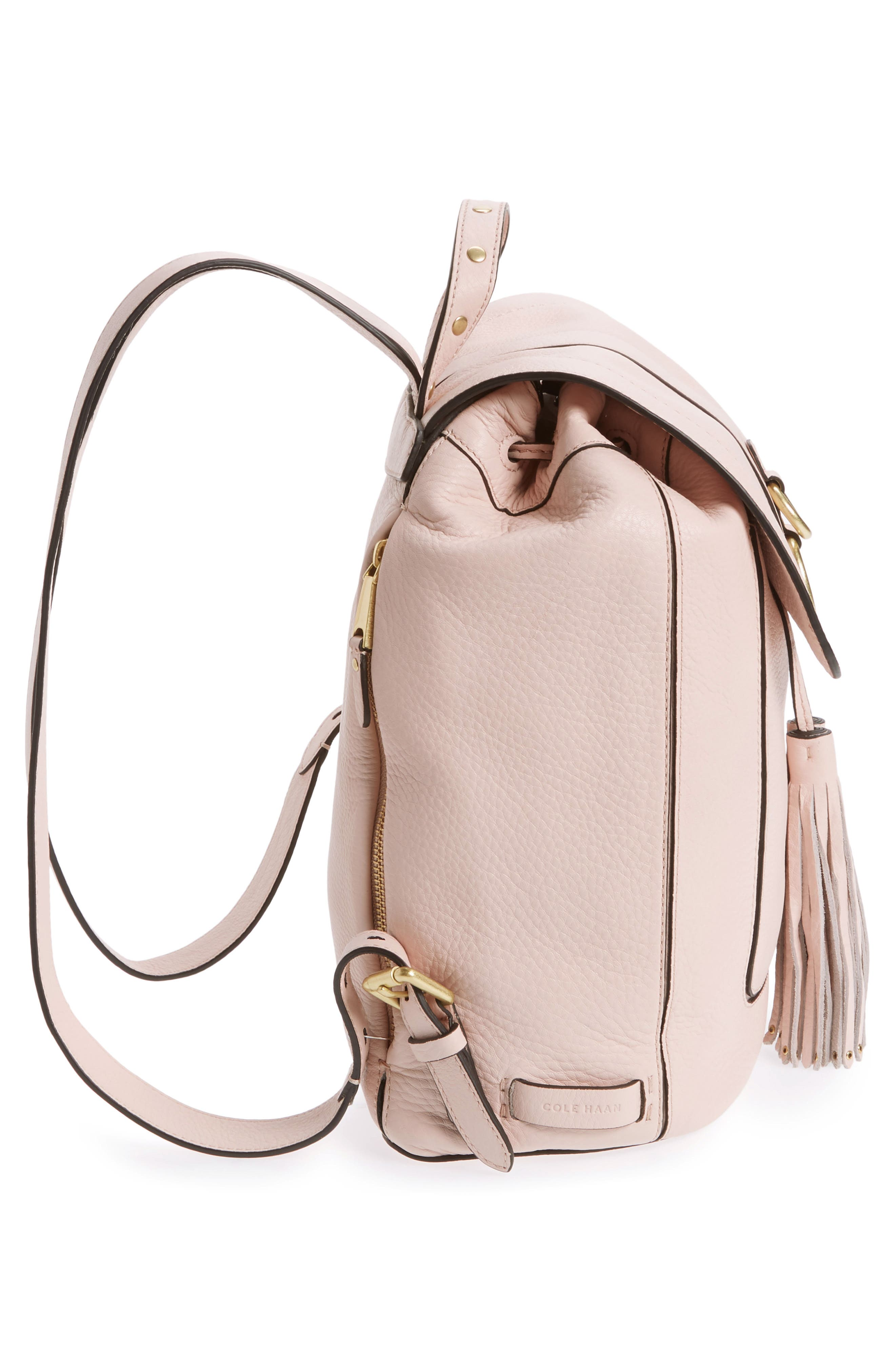 Cassidy RFID Pebbled Leather Backpack,                             Alternate thumbnail 5, color,                             Peach Blush