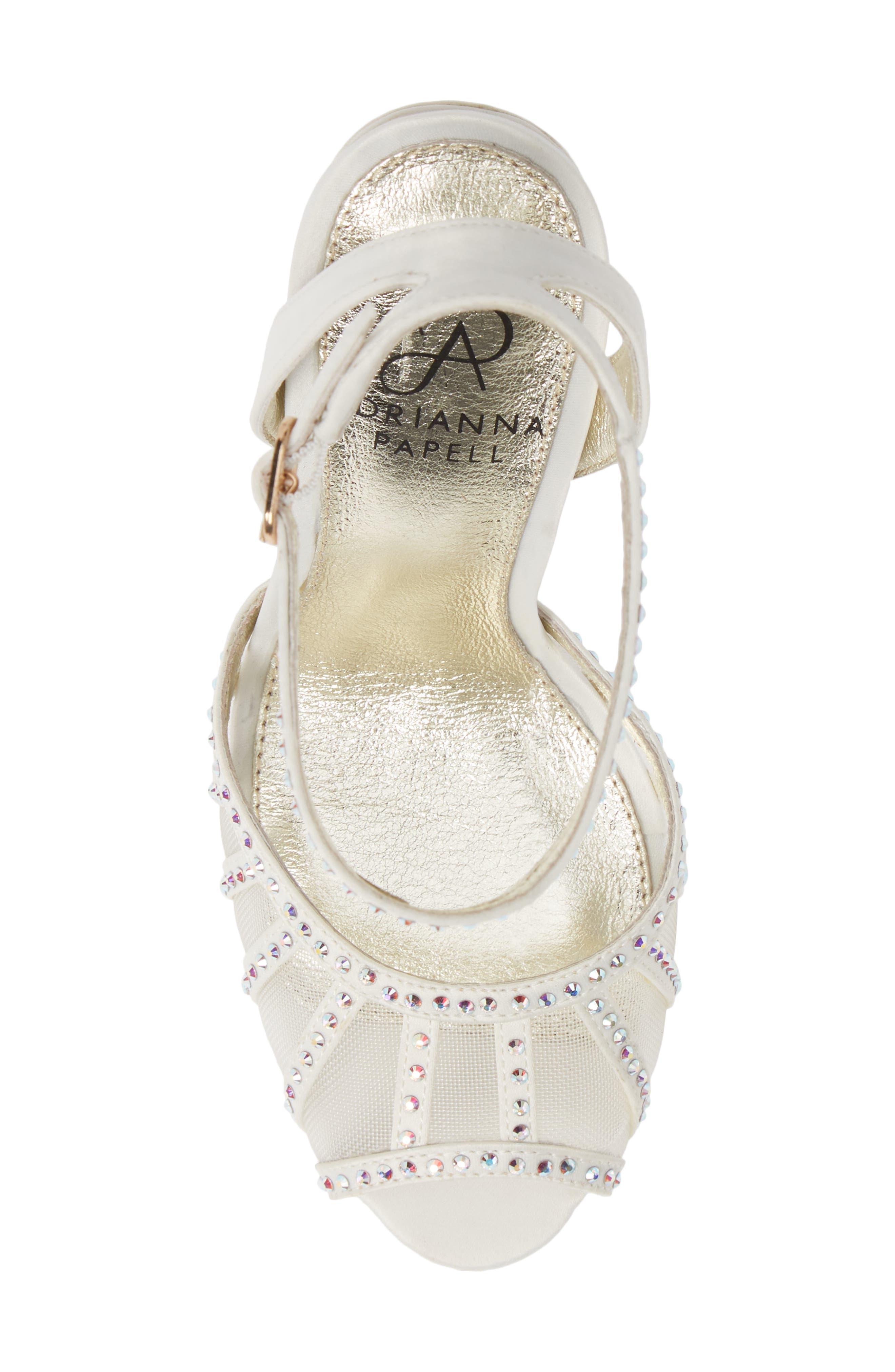 Simone Crystal Embellished Platform Sandal,                             Alternate thumbnail 4, color,                             Ivory