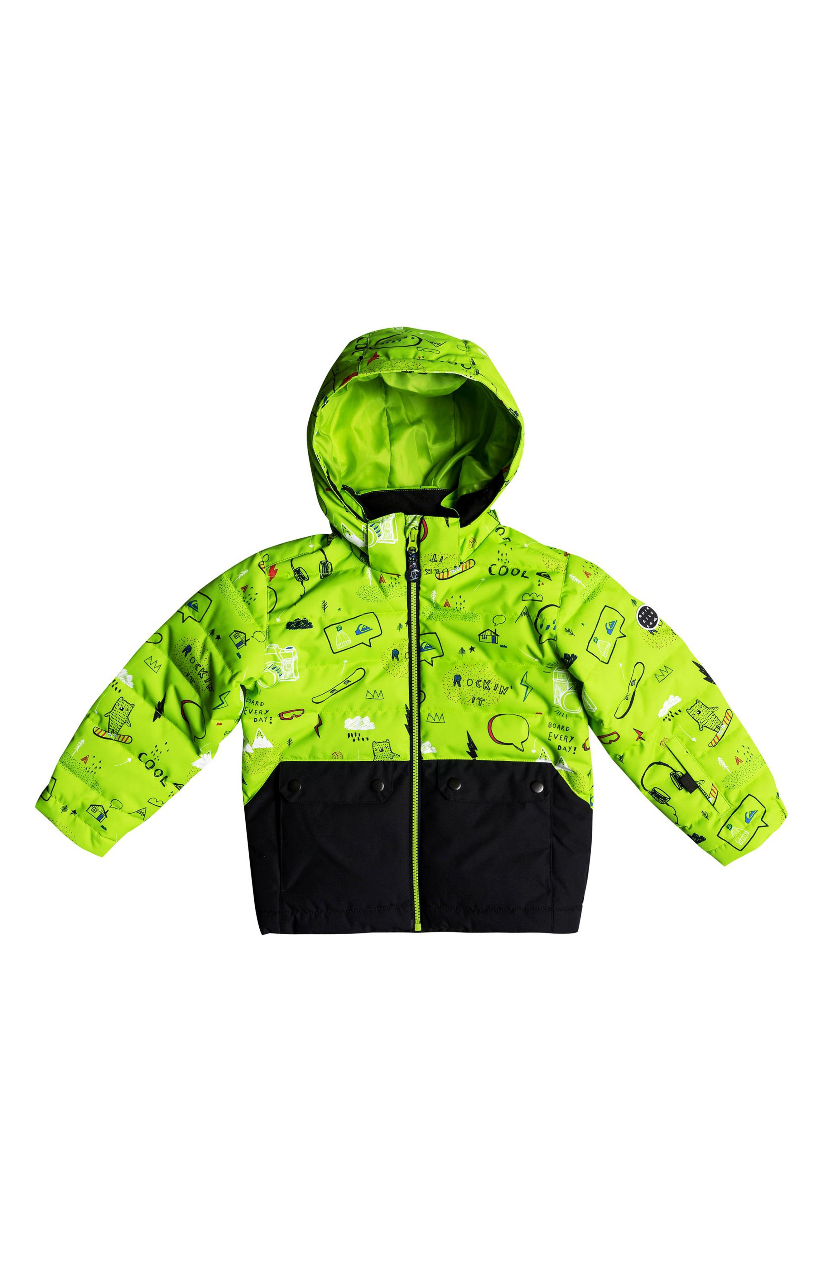Edgy Waterproof Hooded Faux Fur Jacket,                             Alternate thumbnail 3, color,                             Lime Green