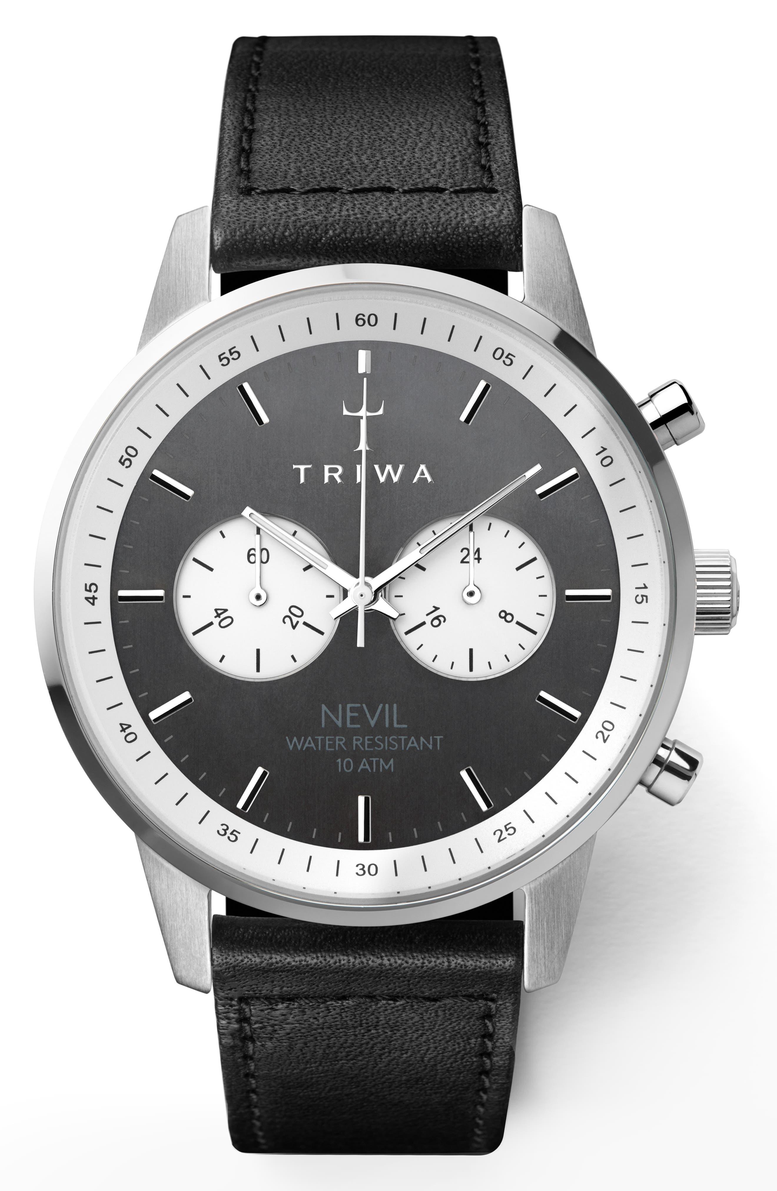Slate Nevil Leather Strap Watch, 42mm,                         Main,                         color, Black/ Grey/ Silver