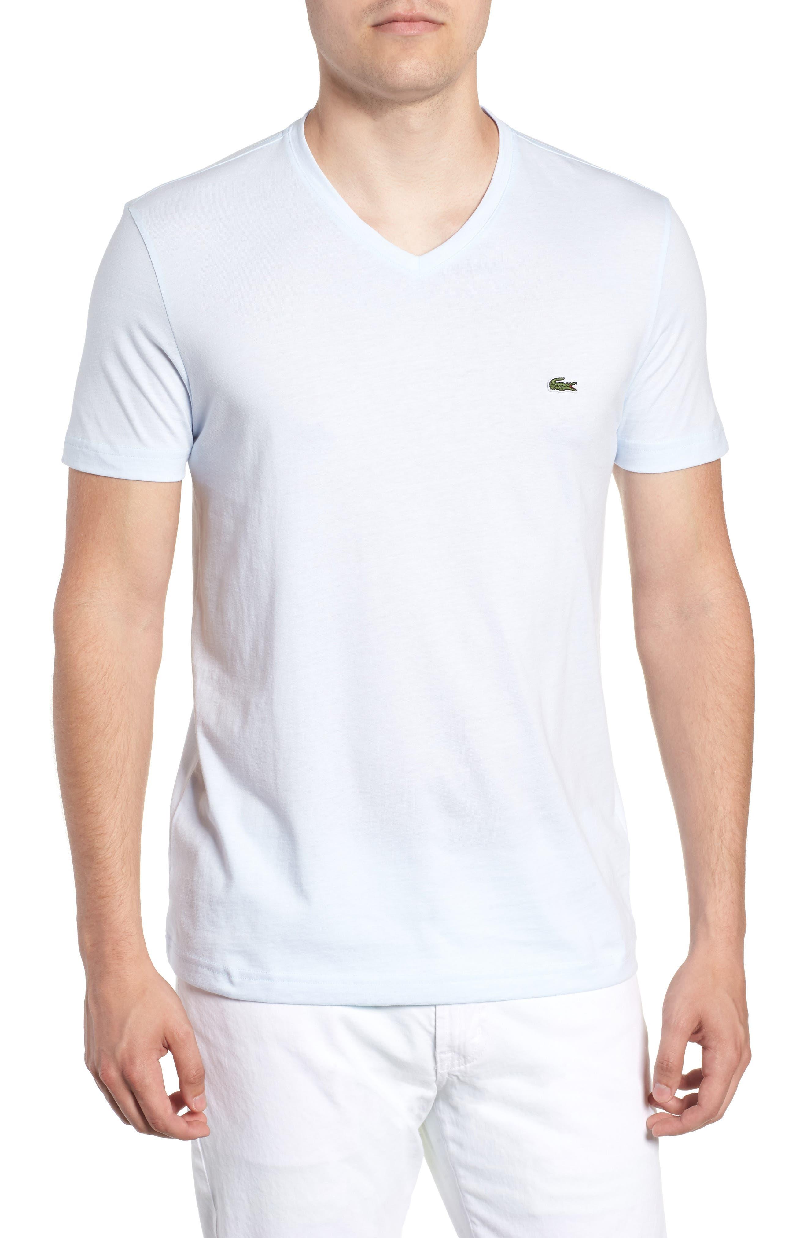 V-Neck Cotton T-Shirt,                             Main thumbnail 1, color,                             Rill/ White