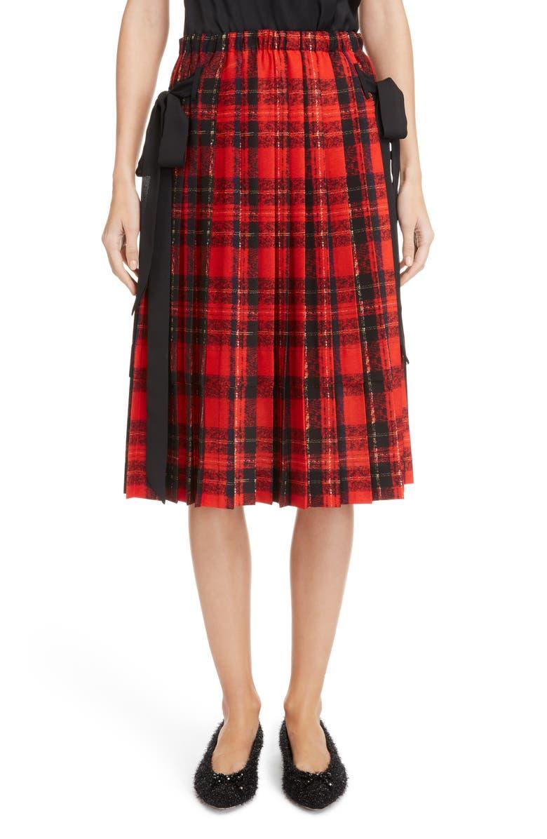 Bow Pleated Tartan Skirt