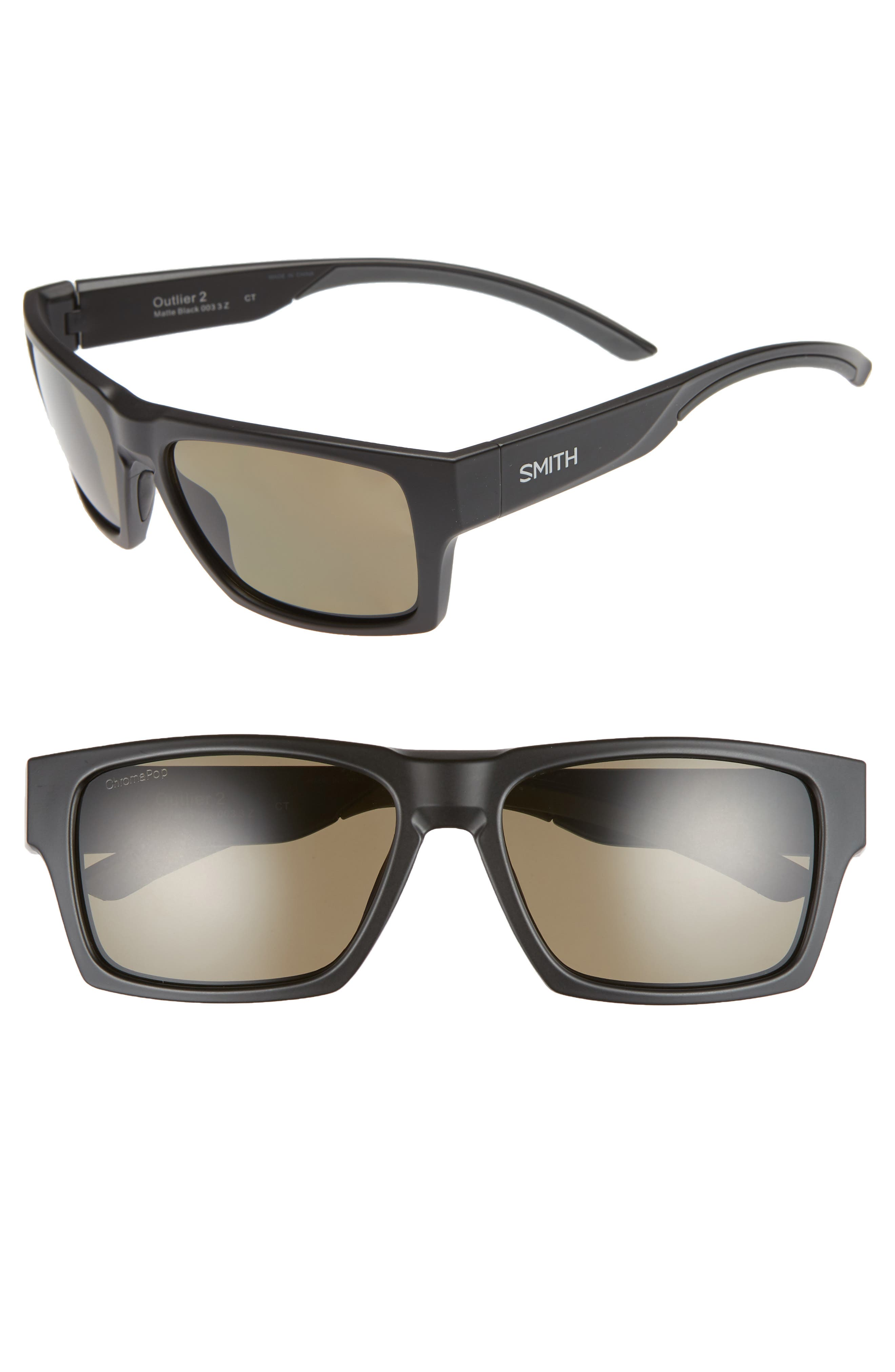SMITH OUTLIER 2 57MM CHROMAPOP(TM) SQUARE SUNGLASSES - MATTE BLACK