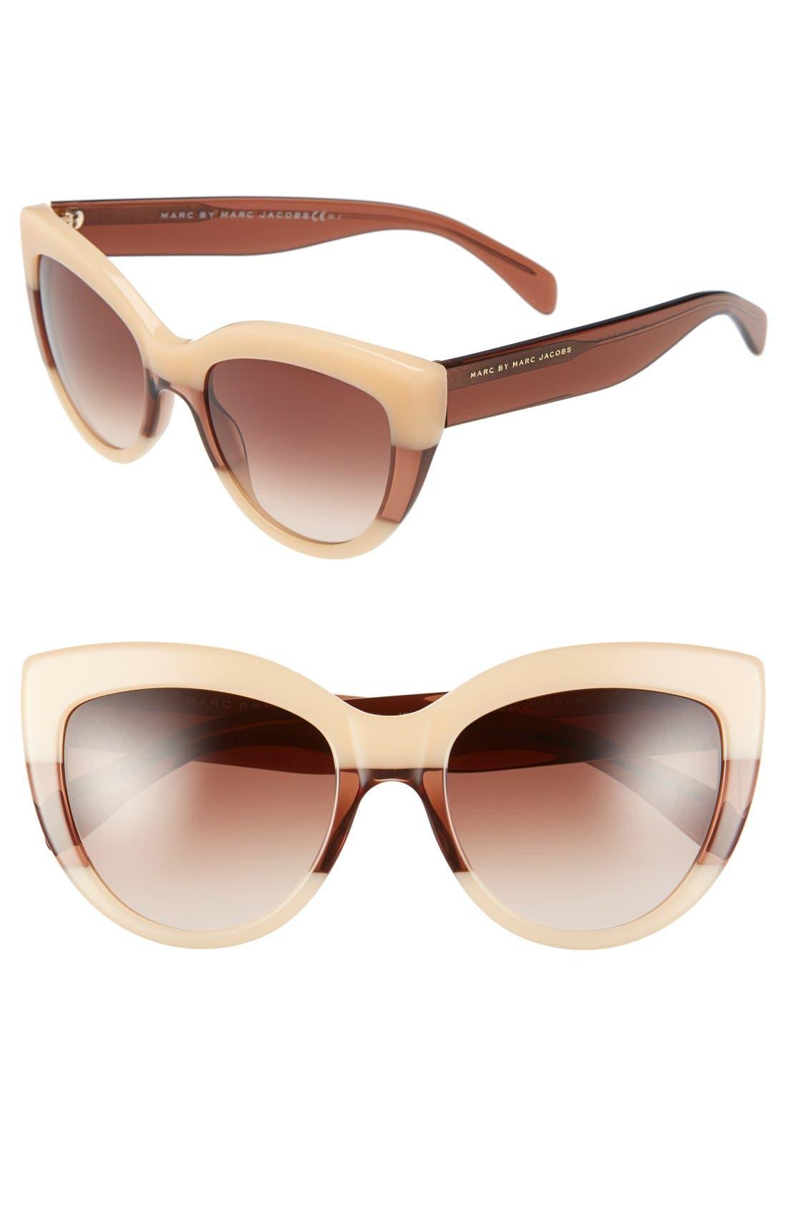 53mm Cat Eye Sunglasses,                         Main,                         color, Orange/ Brown